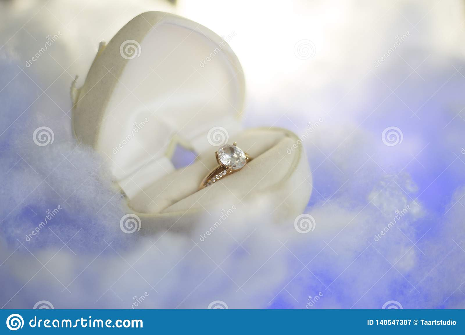 Golden Ring In The Heart Box Stock Image Image Of Groom