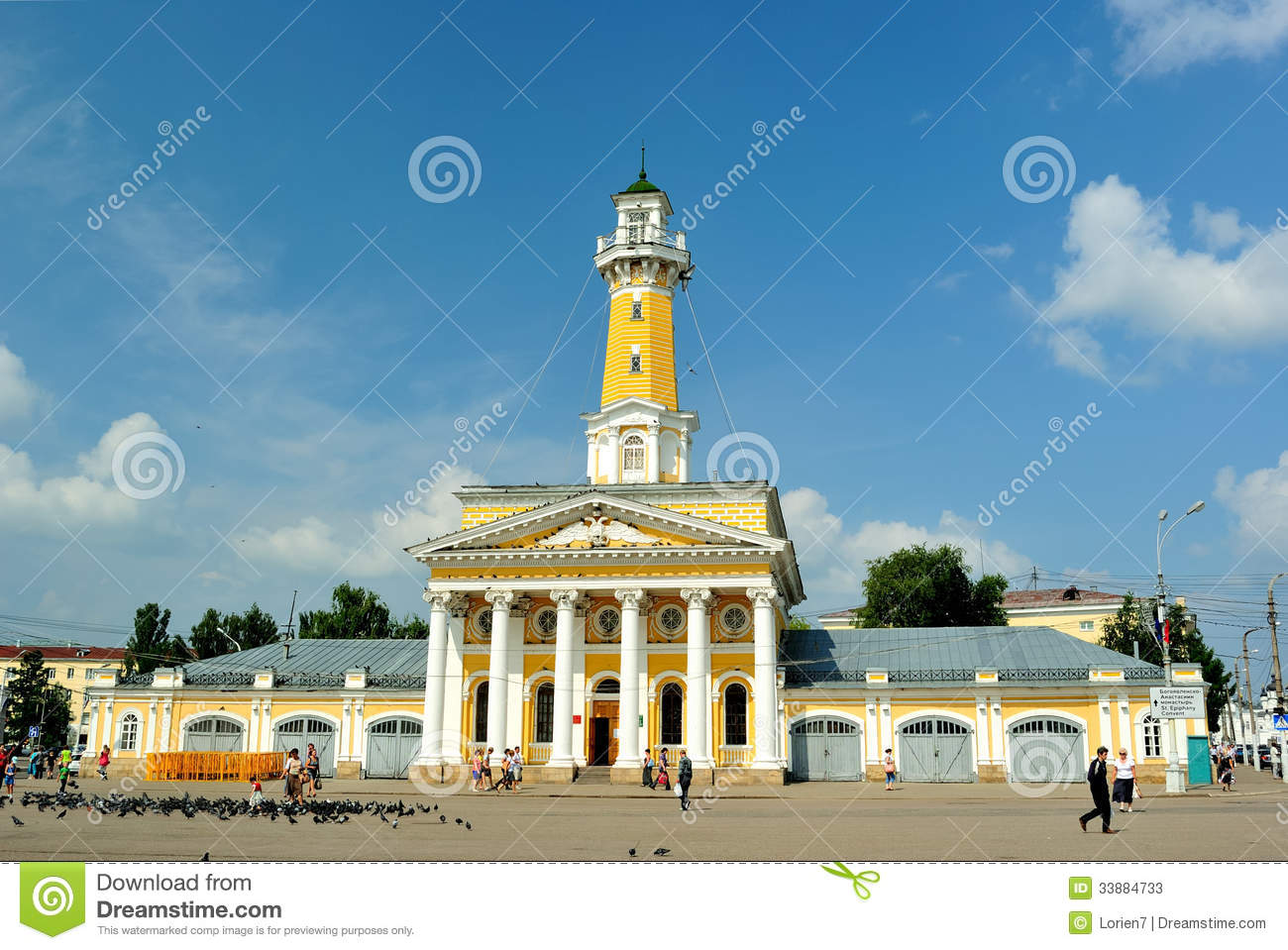 The main decoration of Susaninskaya Square - a fire tower (Kostroma)