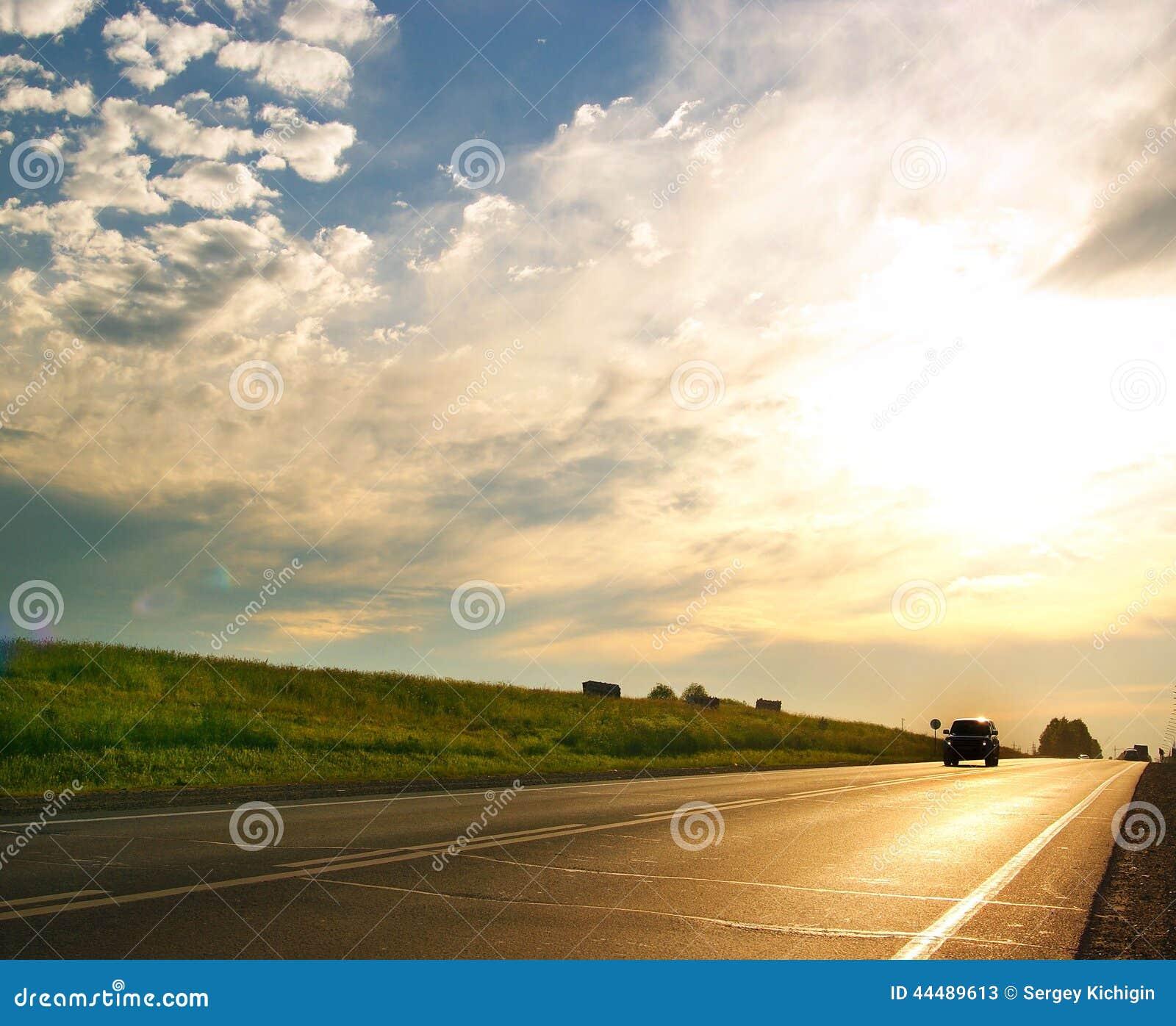 Golden road route blur truck