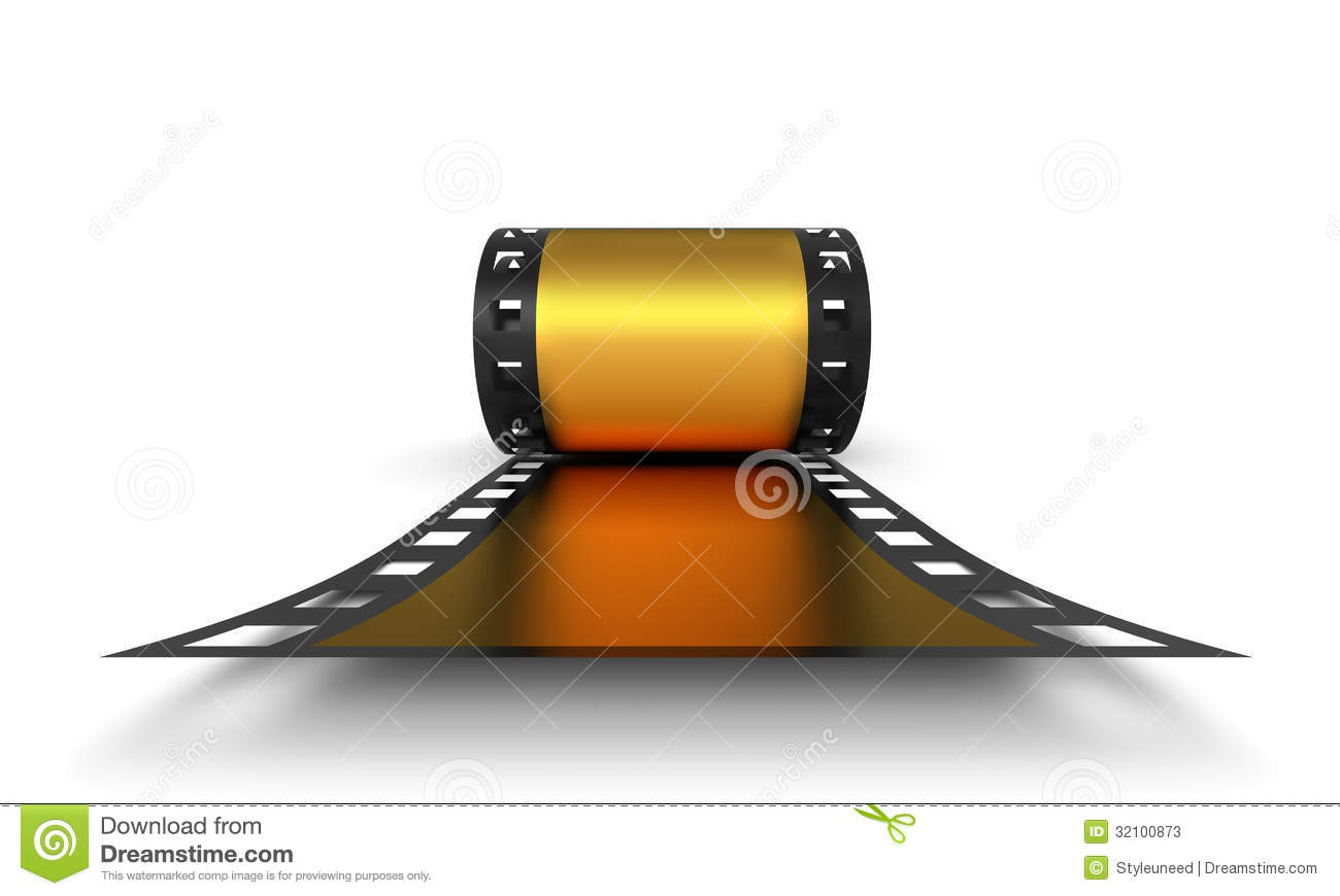 Golden Roll Of Negative Film Stock Photos - Image: 32100873