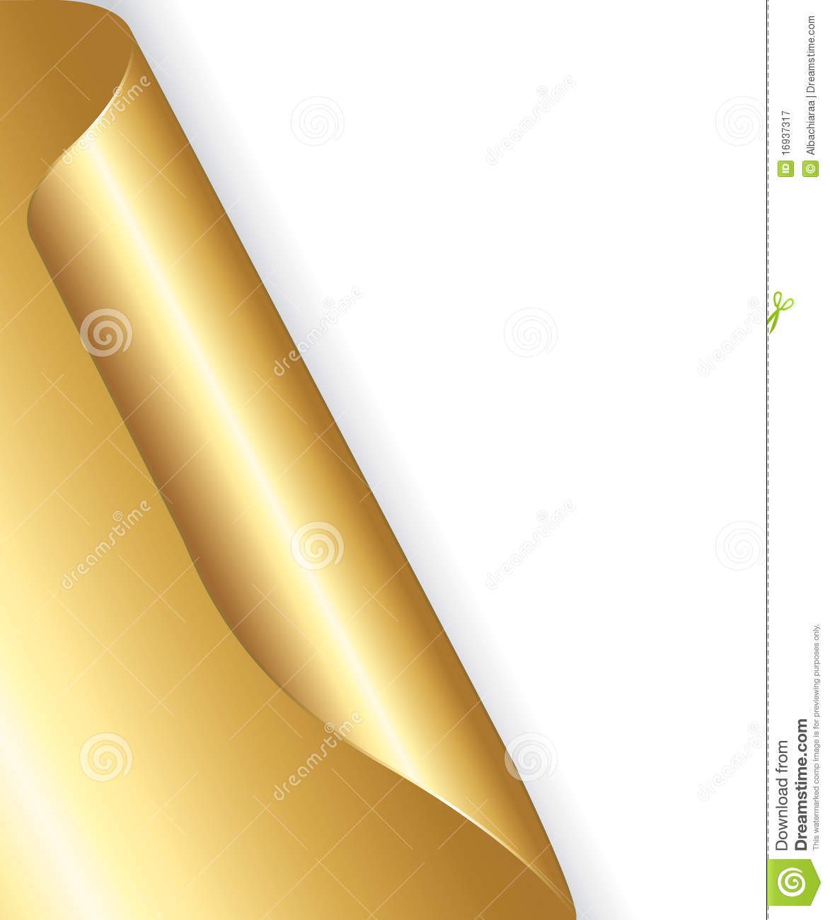Golden Rolled Up Corner Paper Royalty Free Stock