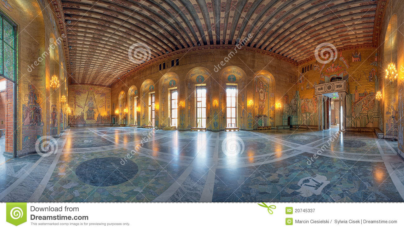 Golden Room Of Stockholm City Hall Editorial Photography