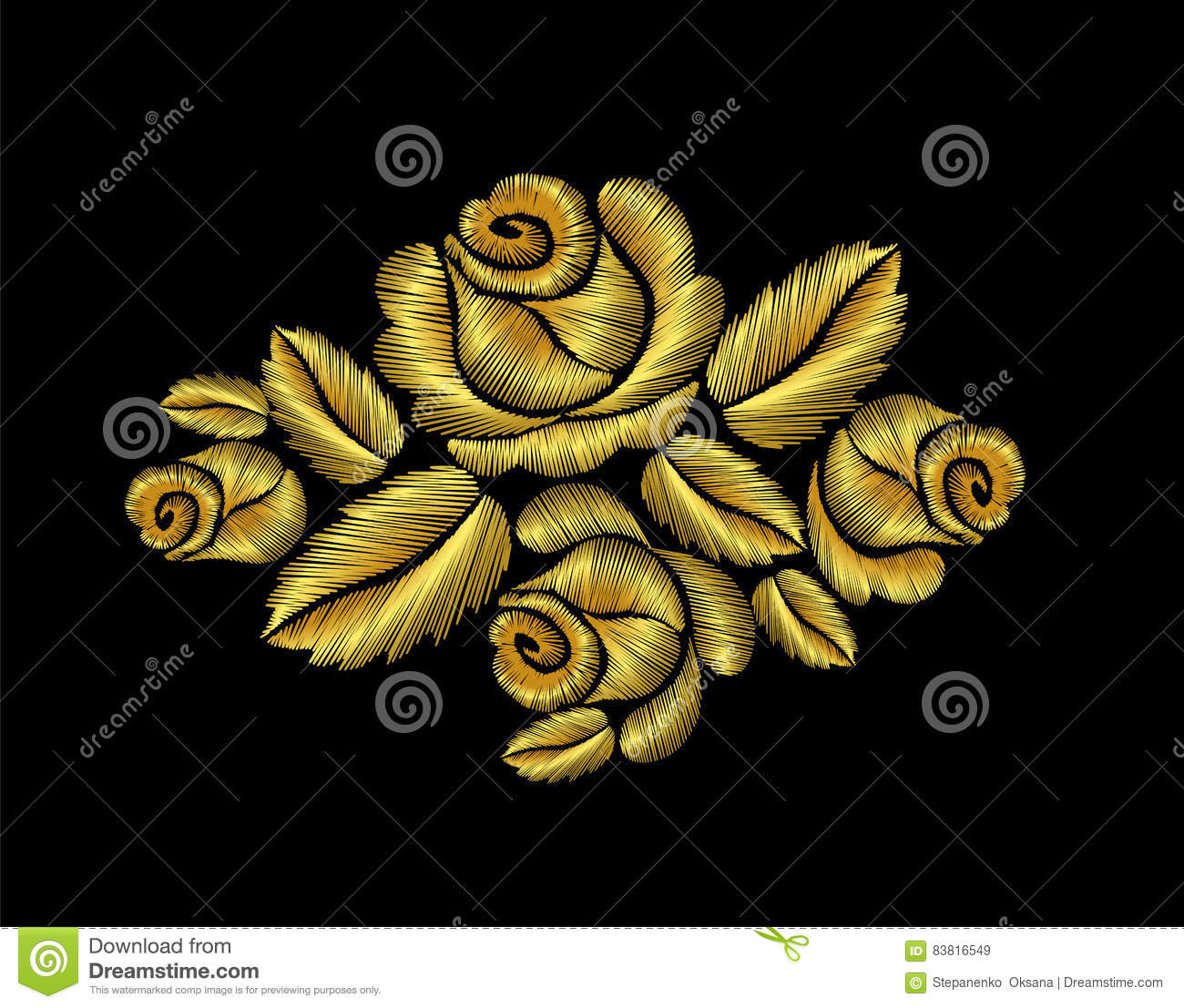 Golden roses embroidery fashion hand drawn illustration
