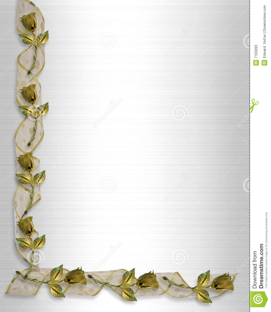Golden Roses And Ribbons Wedding Invitation Stock Photos ...