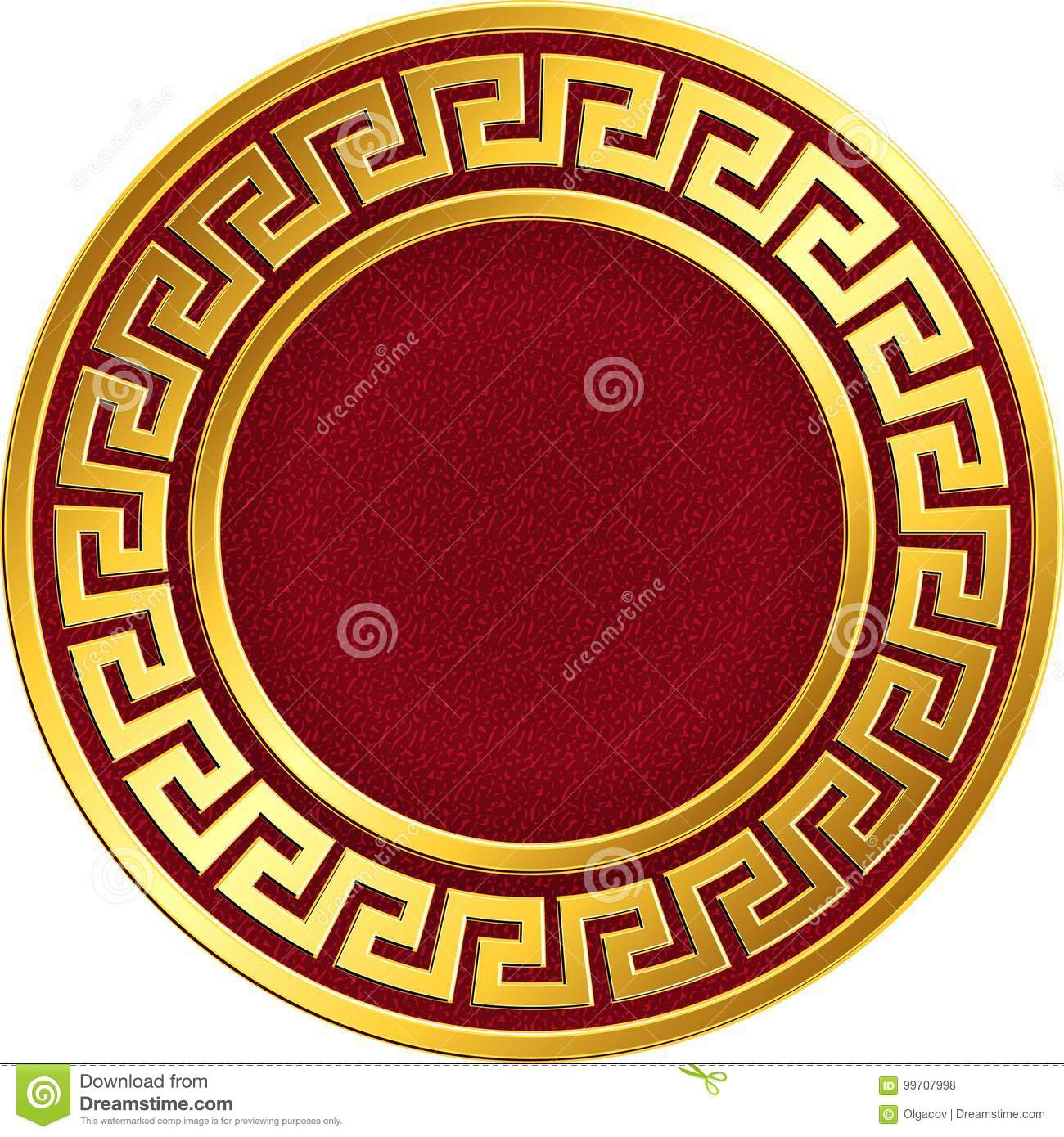 80ad3f60ebc7 Golden round frame with traditional vintage Greek Meander pattern on the  red background for design template. Gold pattern for decorative tiles and  plates ...
