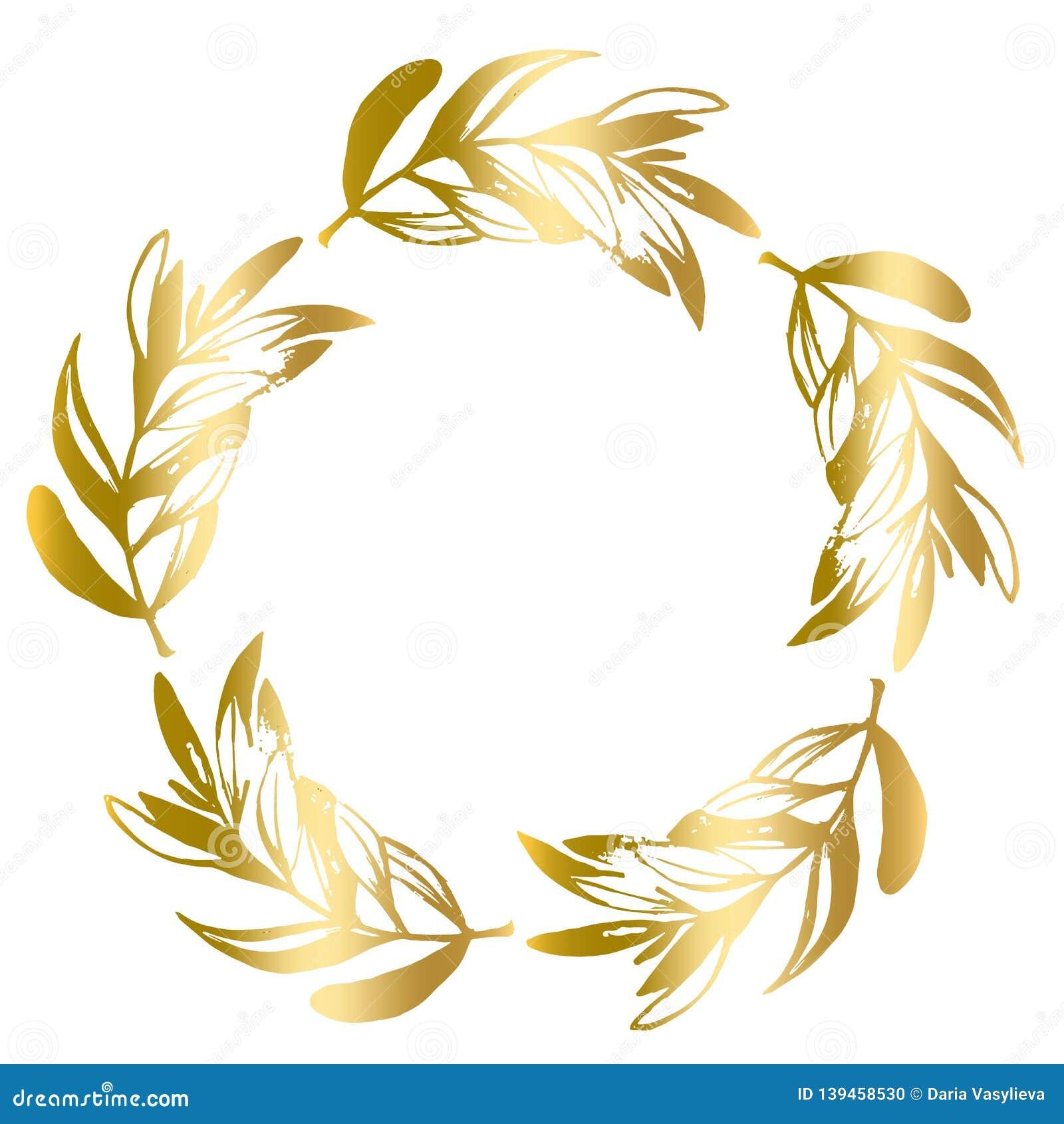 Golden round frame of olive leaves vector