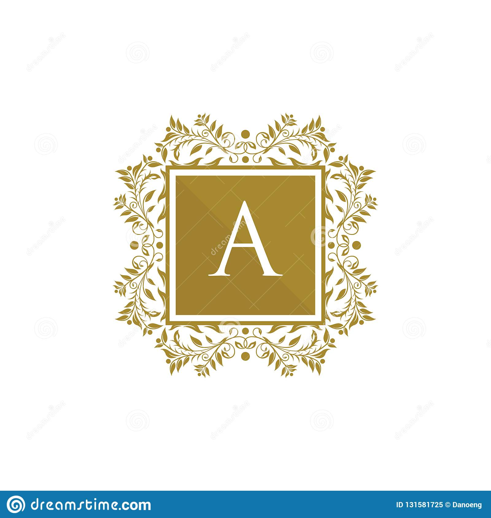 golden royal wedding a letter logo