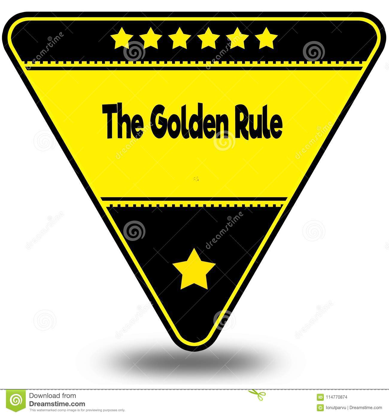 The Golden Rule On Black And Yellow Triangle With Shadow Stock