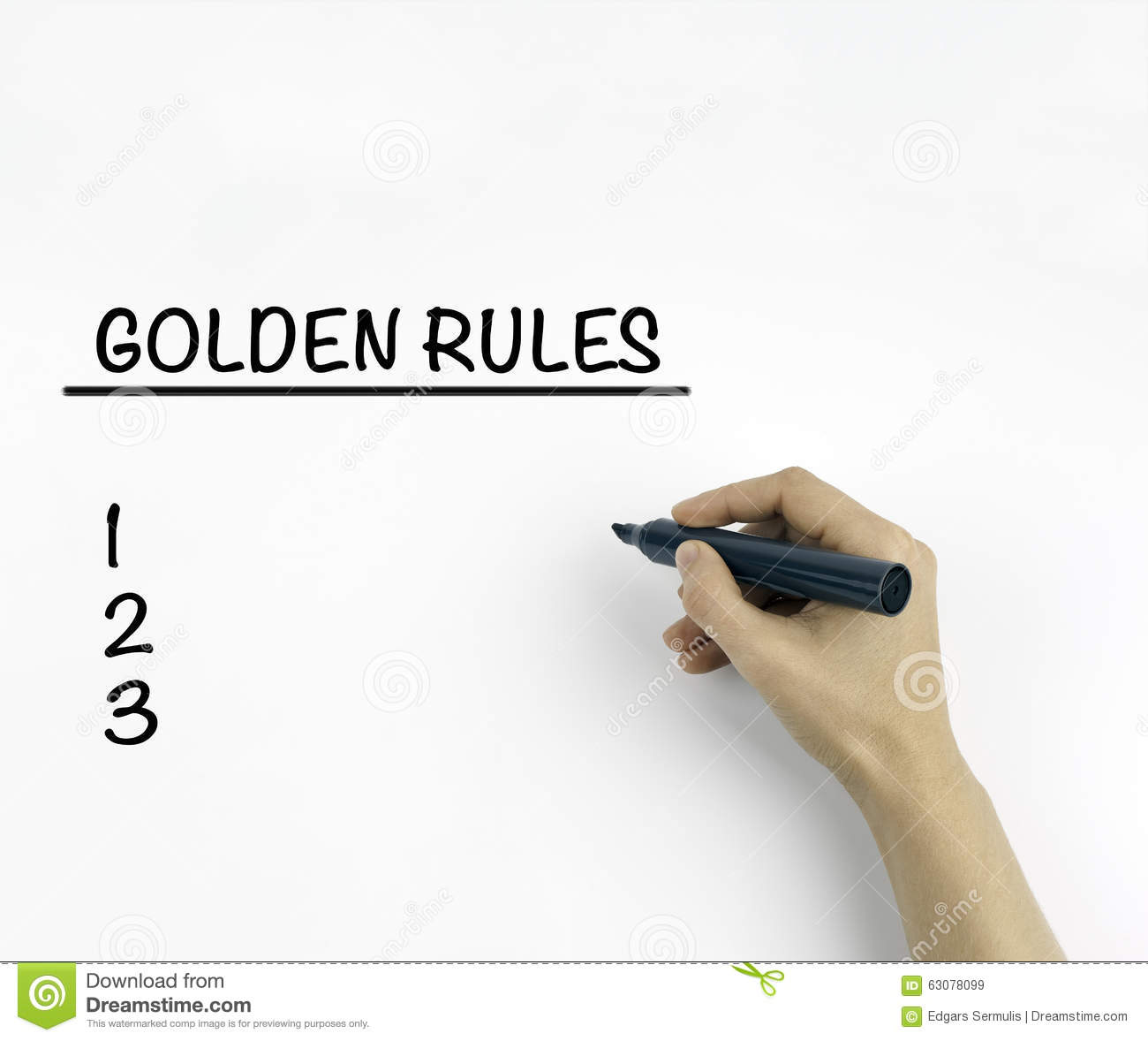 Golden Rules On A White Background Stock Photo Image