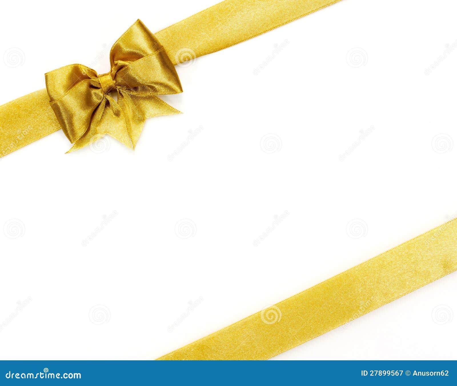Golden Satin Gift Bow. Ribbon Royalty Free Stock Photography - Image ...