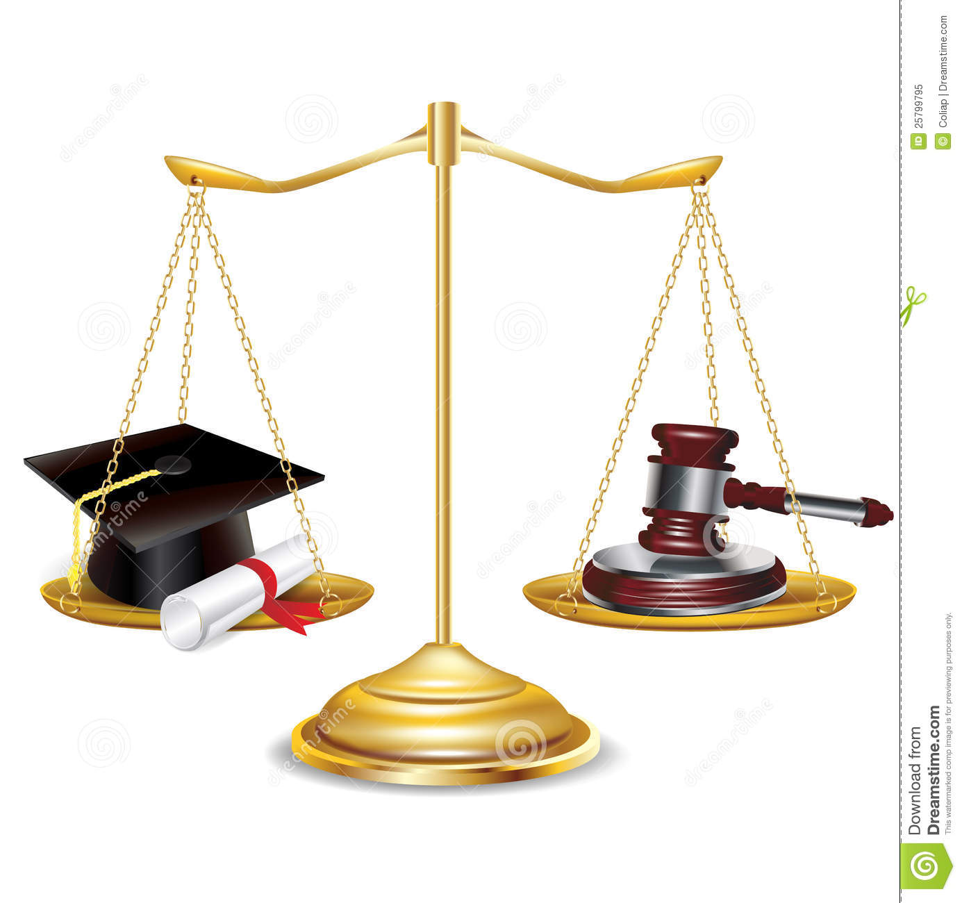 Golden Scales With Gavel And Graduation Cap Royalty Free ...