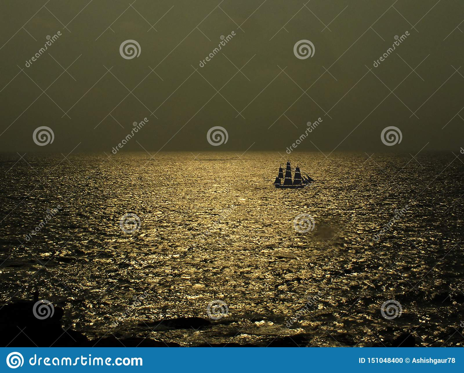 Golden Sea Water with Boat