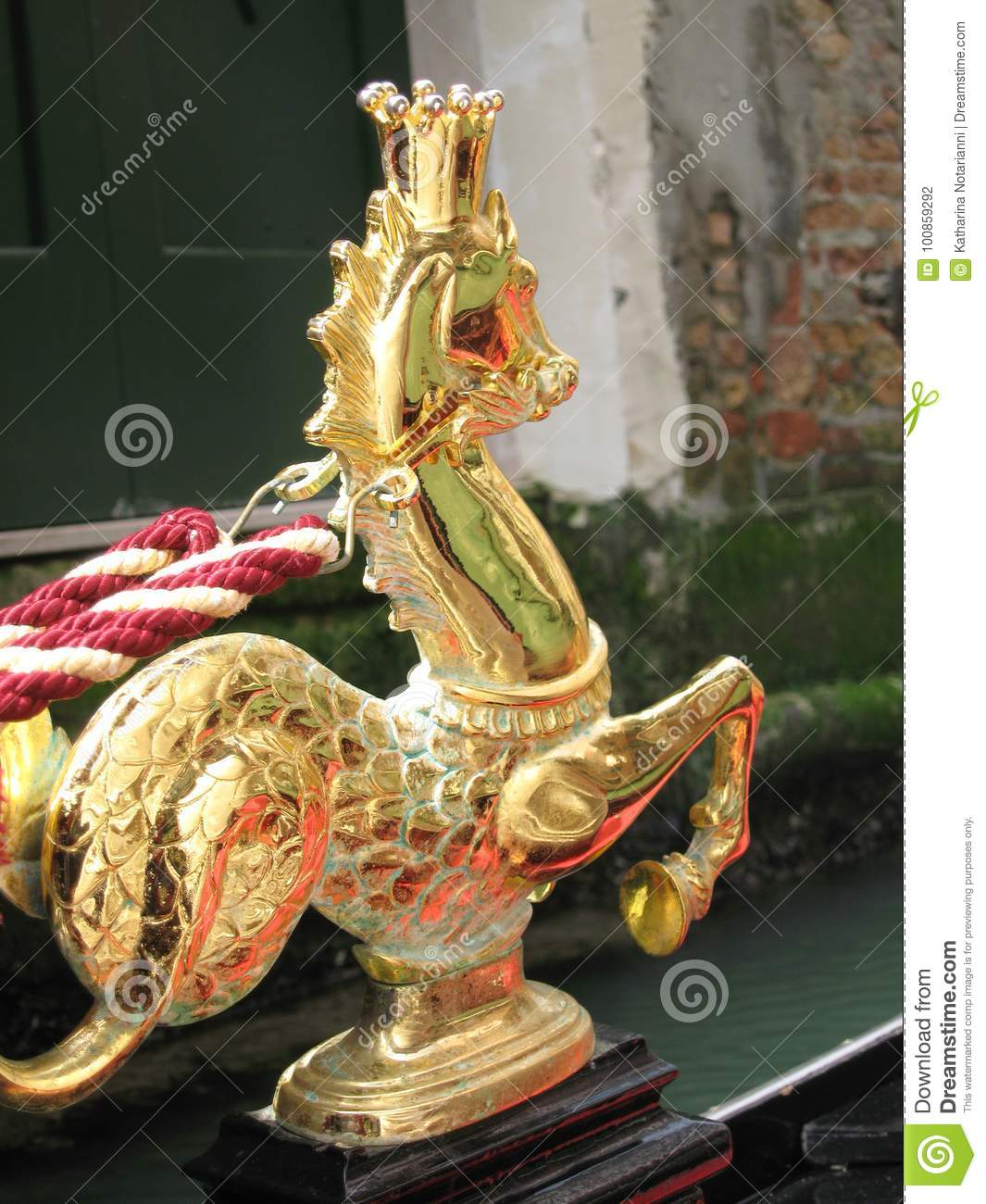 Golden Seahorse with Crown on Gondola in Venice