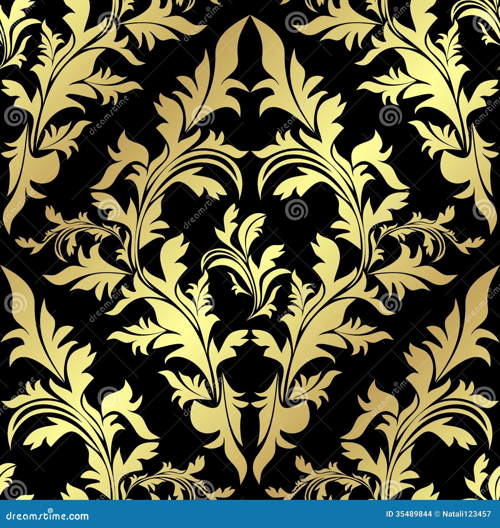 Nature Chandelier Golden Seamless Floral Pattern On Black Stock Images