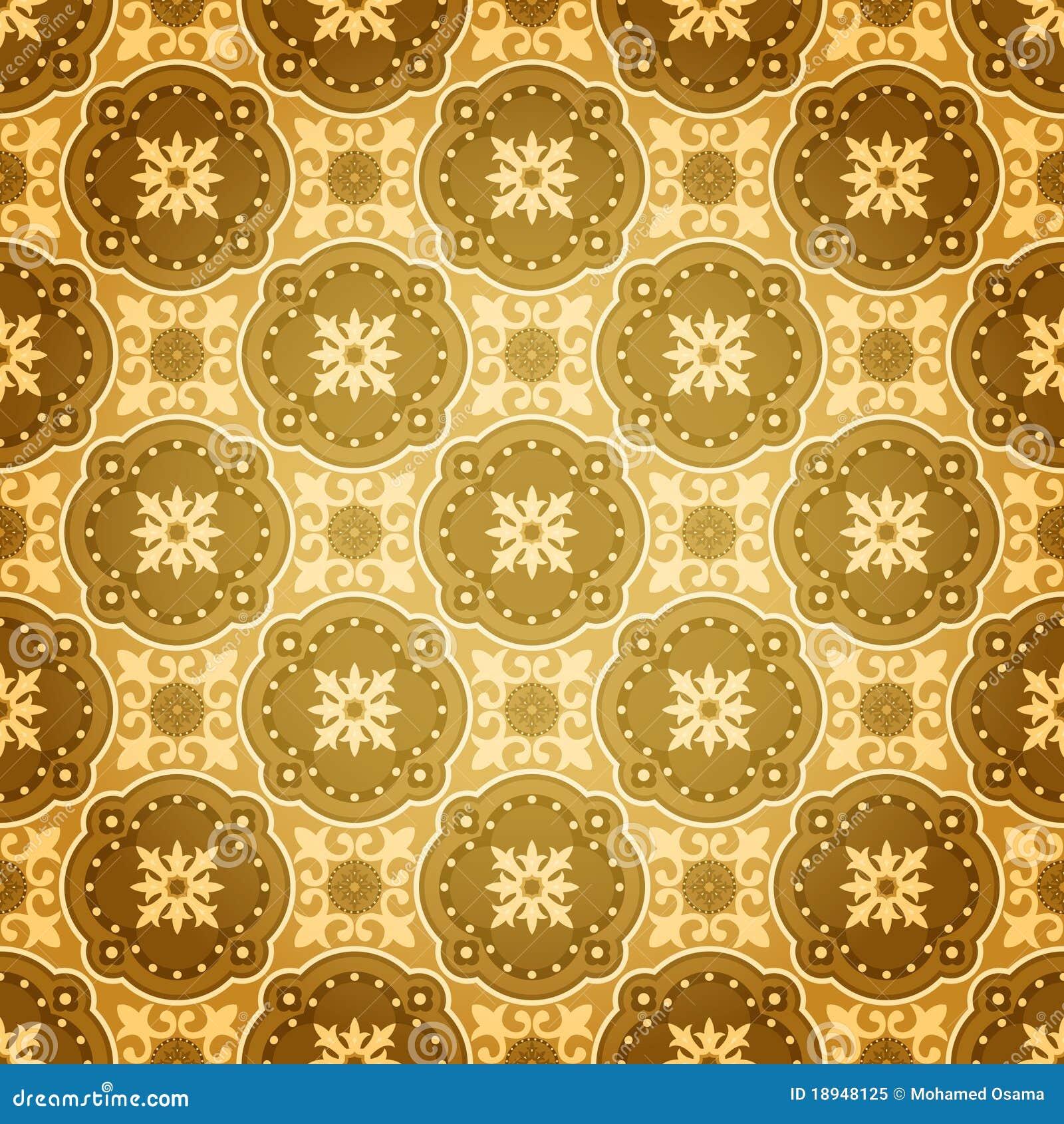 Batik Design Golden Seamless Wall P...