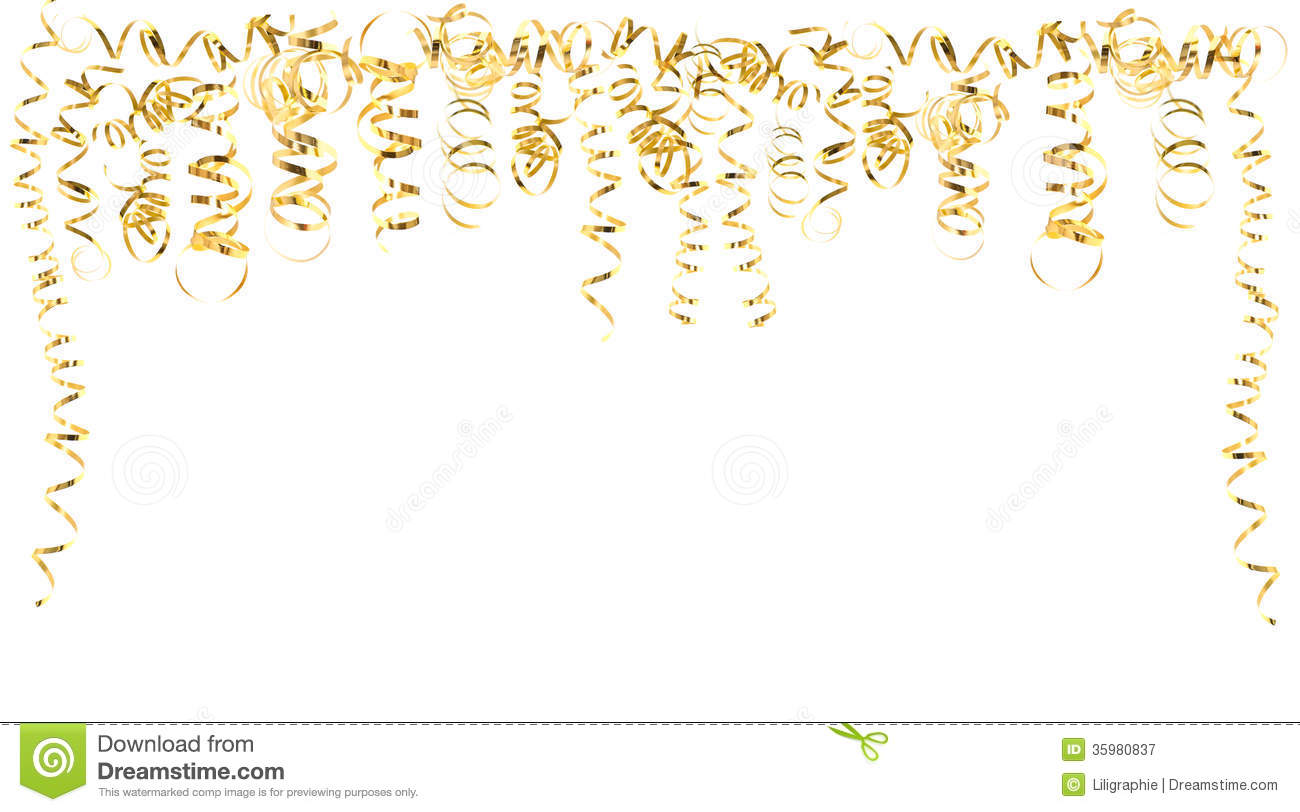 Golden Serpentine Streamers Isolated On White Royalty Free Stock ...