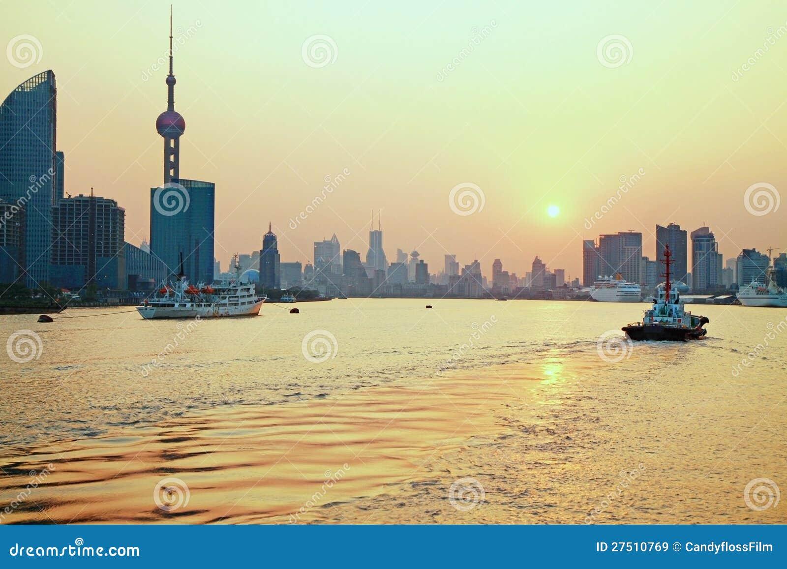 golden shanghai stock image image of neon river sunset 27510769