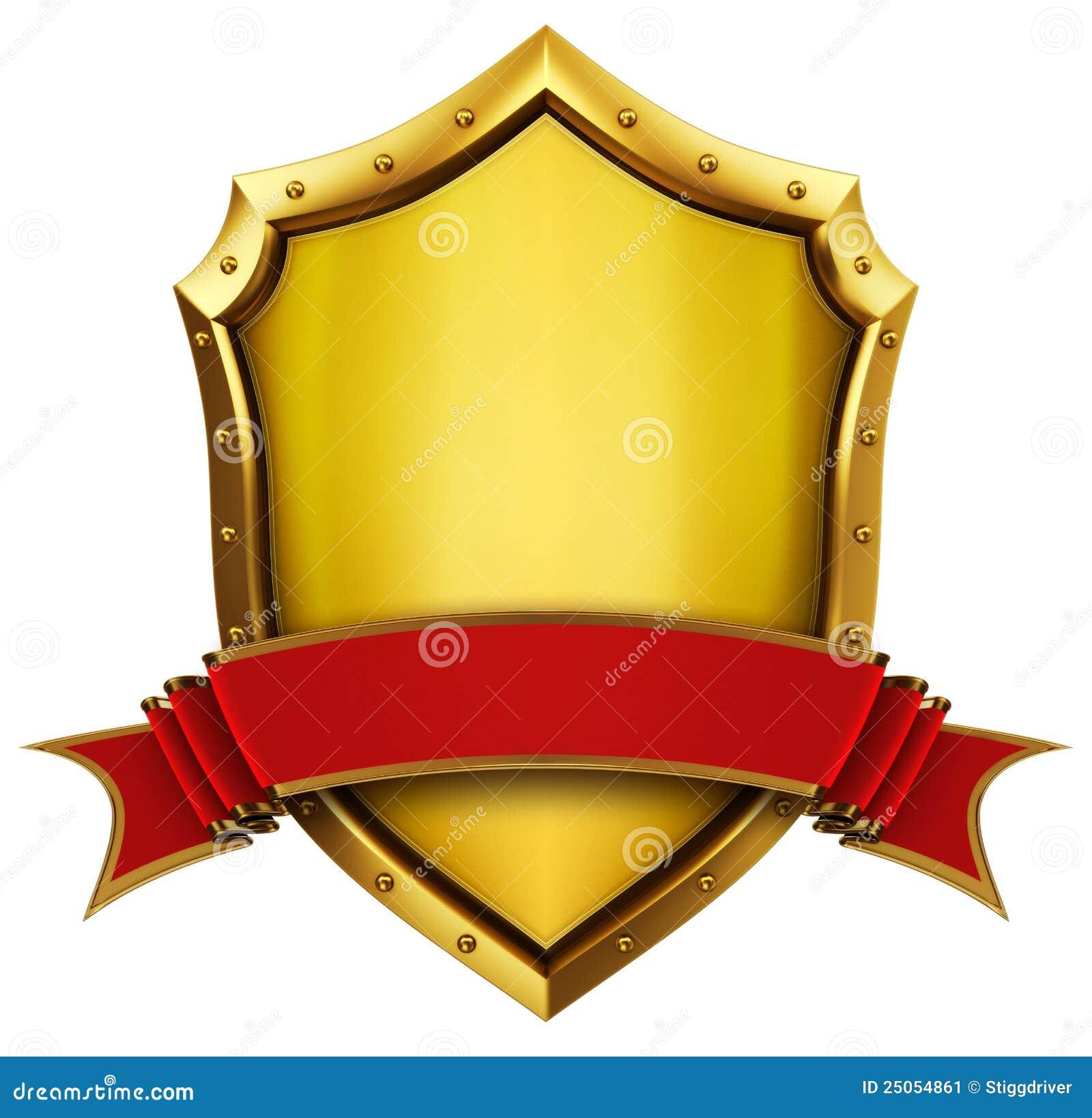 Stock Image Golden Shield Ribbon Image25054861