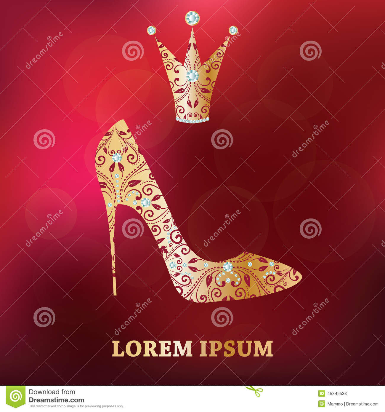 Abstract Flower Background With Decoration Elements For: Golden Shoe And Crown With Abstract Floral Decor On Luxury