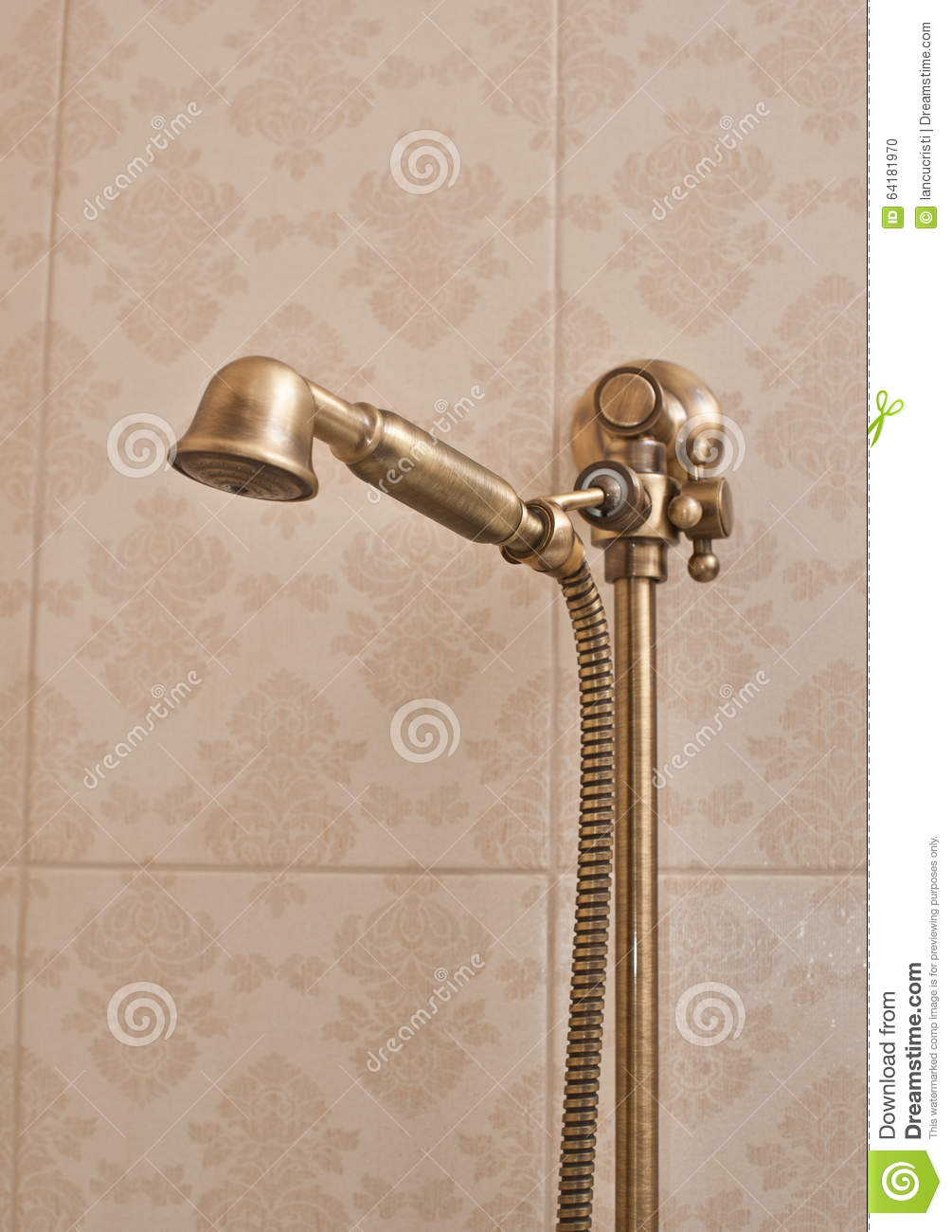 Golden Shower Head On Wall With Faience. Vintage Shower Head Stock ...