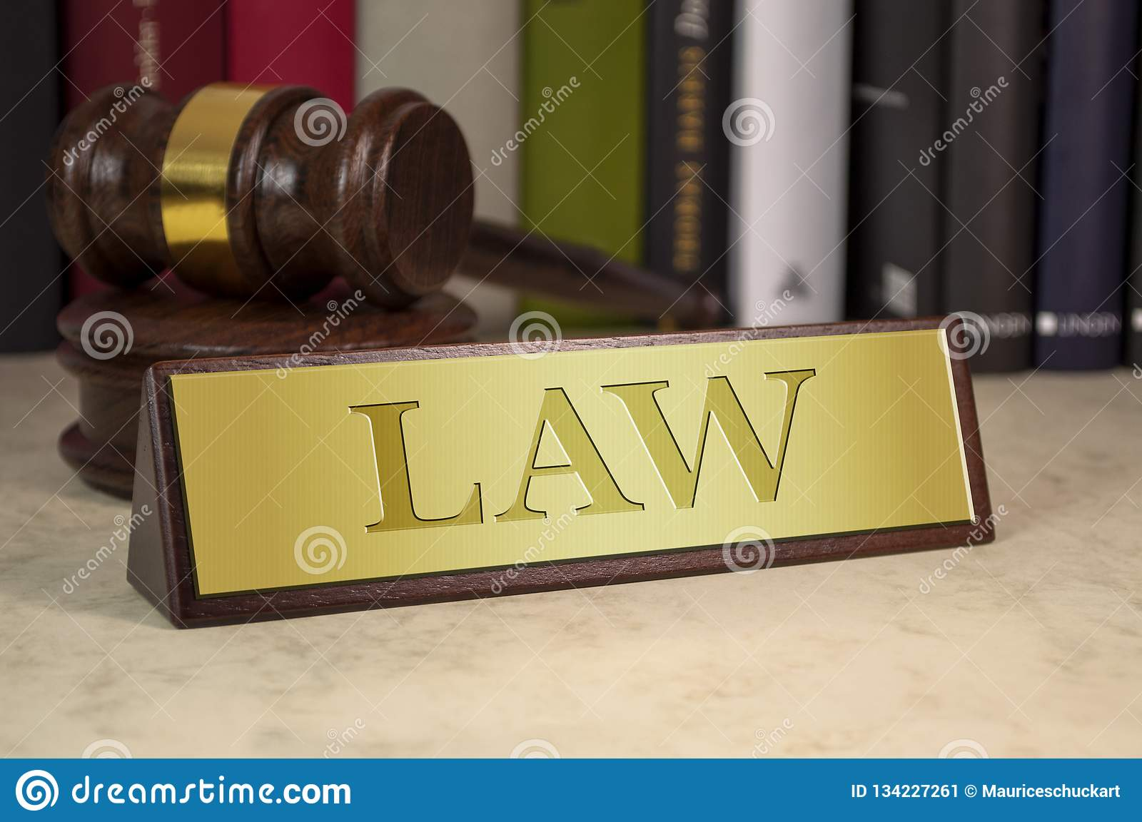 Golden sign with law