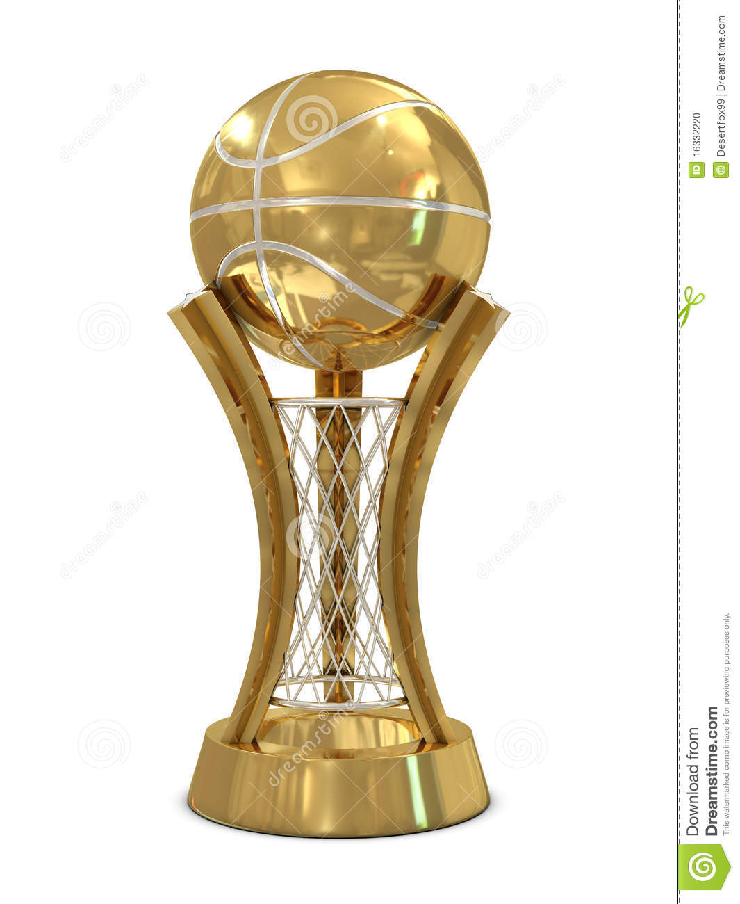 Golden Silver Basketball Award Trophy With Ball Stock