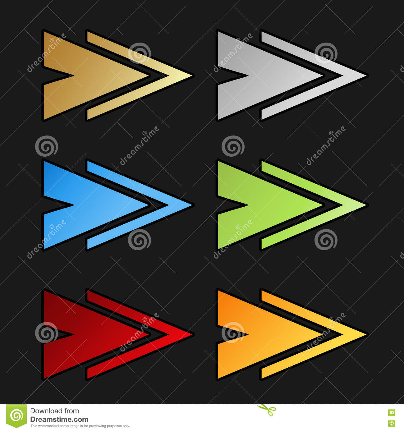 golden silver blue green red and orange arrow symbols