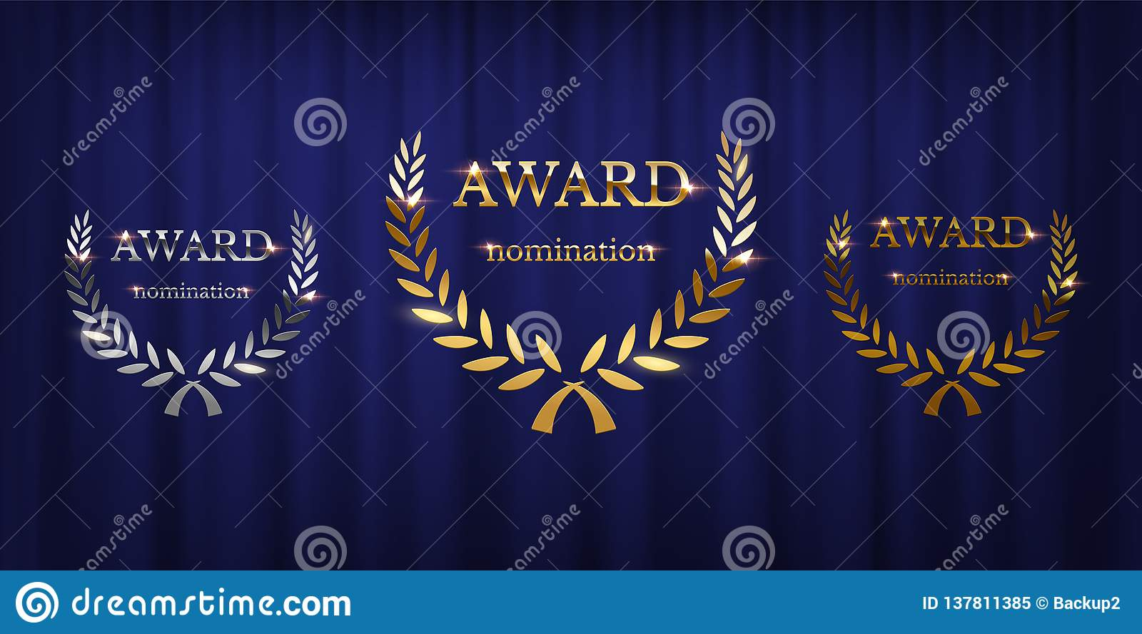 Golden, silver and bronze award signs with laurel wreath isolated on blue curtain background. Vector award design