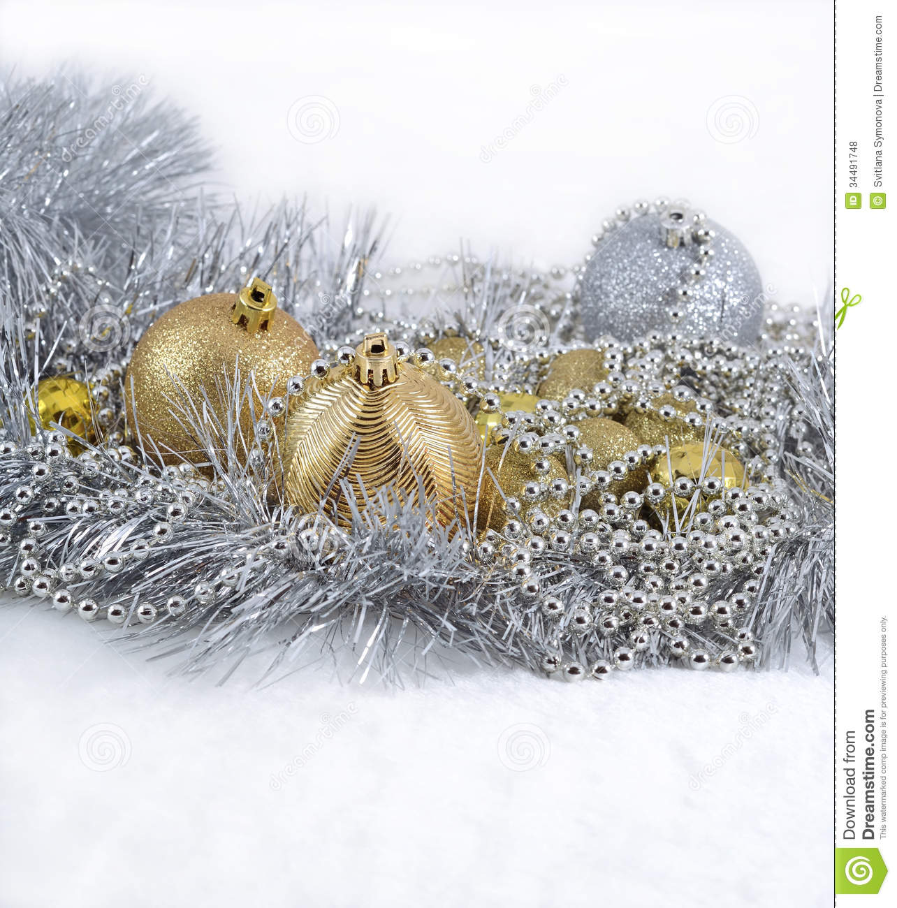 Golden And Silver Christmas Decorations Royalty Free Stock
