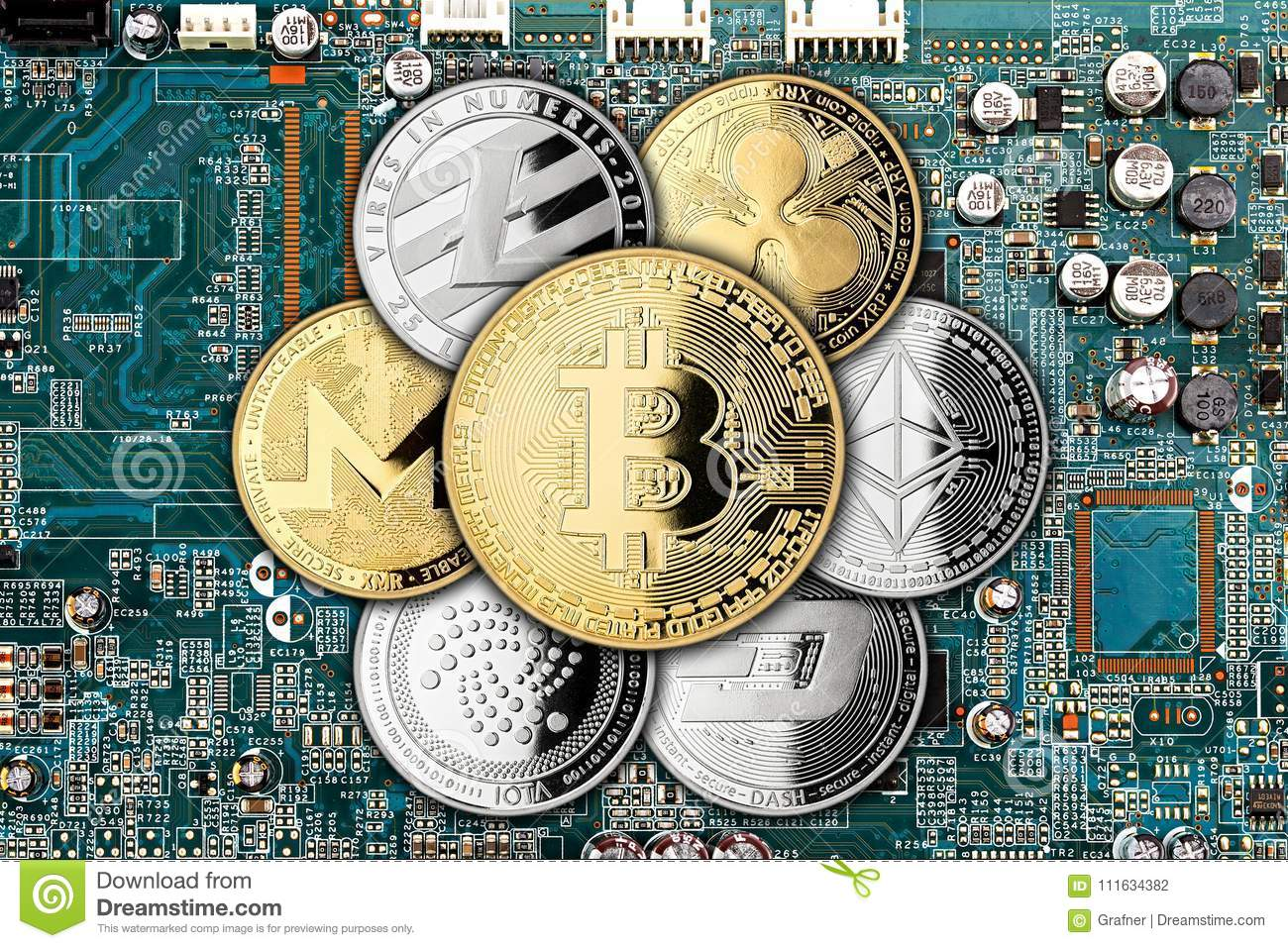 Crypto Currency Golden Silver Coin Mining Computer Background Stock