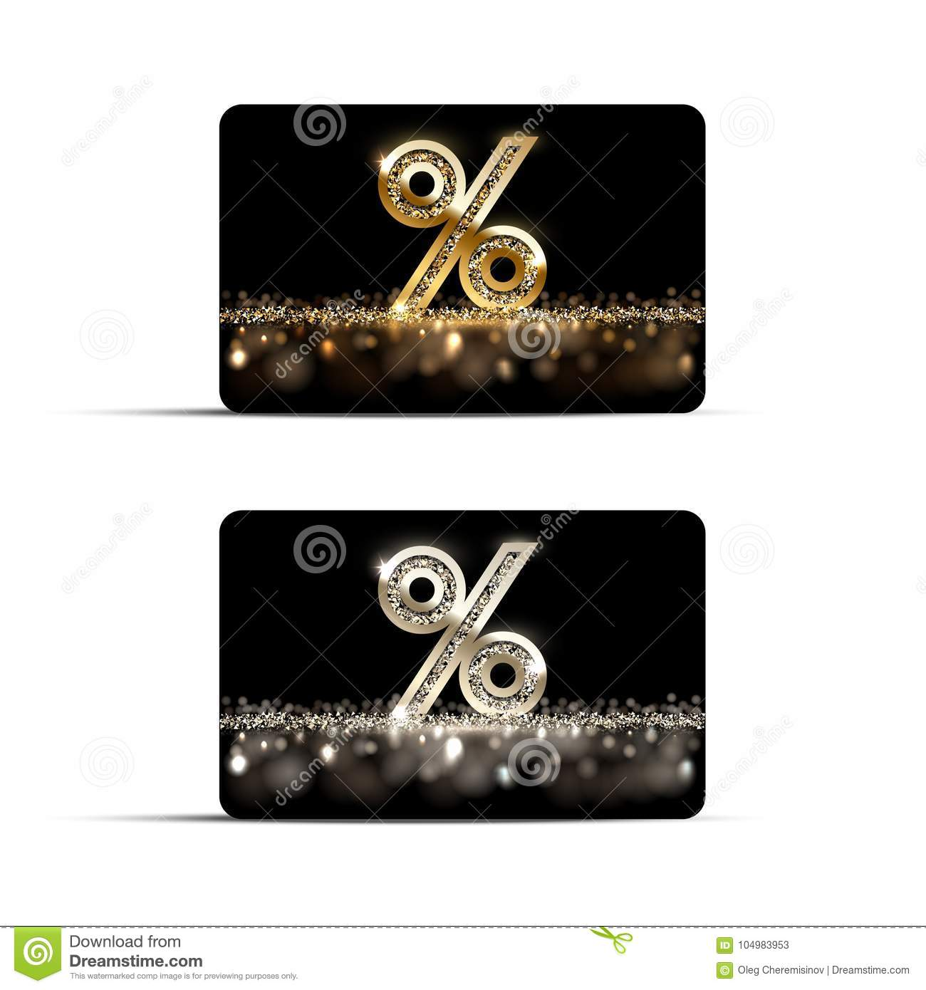 Golden and silver discount or gift cards isolated on white background. Vector luxury design elements.