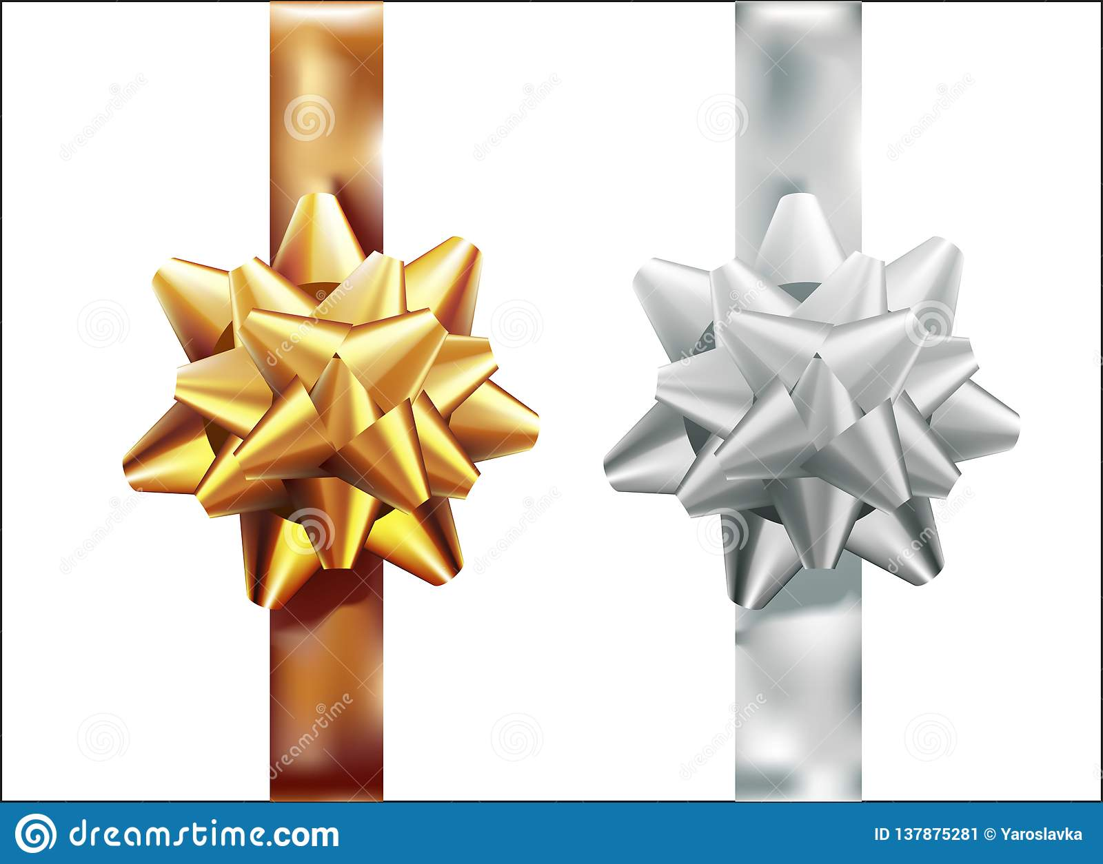 Golden, silver gift bow set vertical ribbon. Isolated on white background. Vector illustration. Christmas, New Year, birthday gold