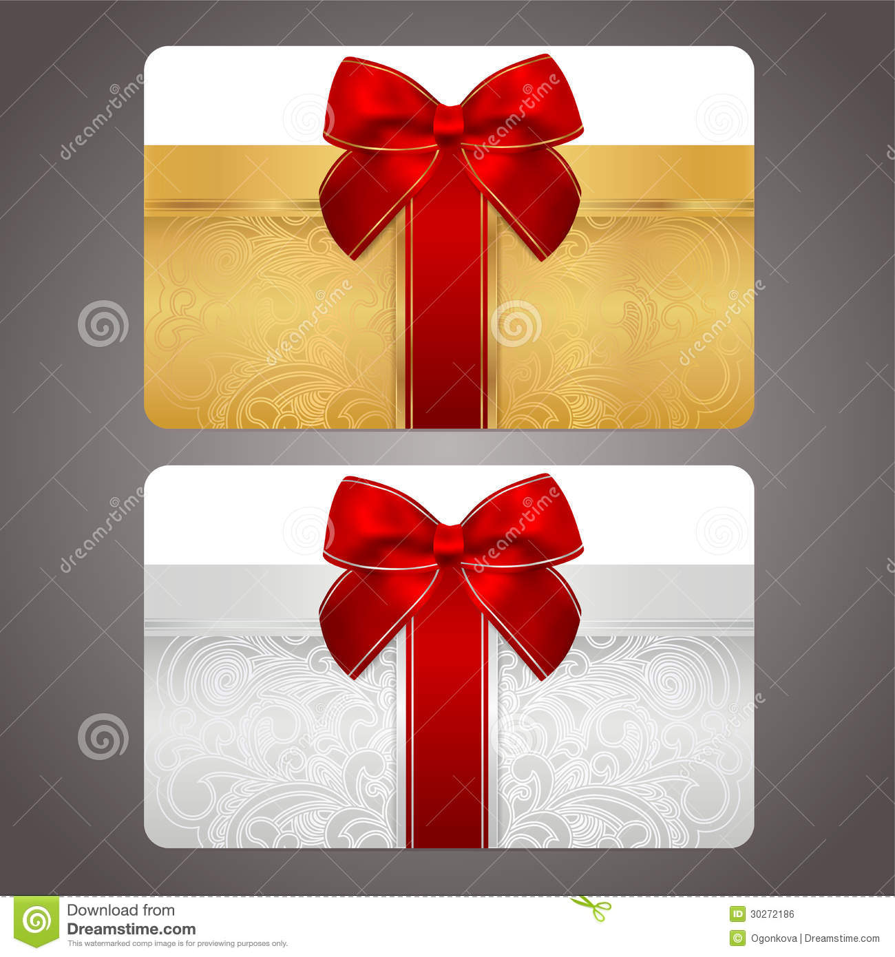 Design of discount card - Golden And Silver Gift Card With Red Bow Ribbons Royalty Free Stock Image