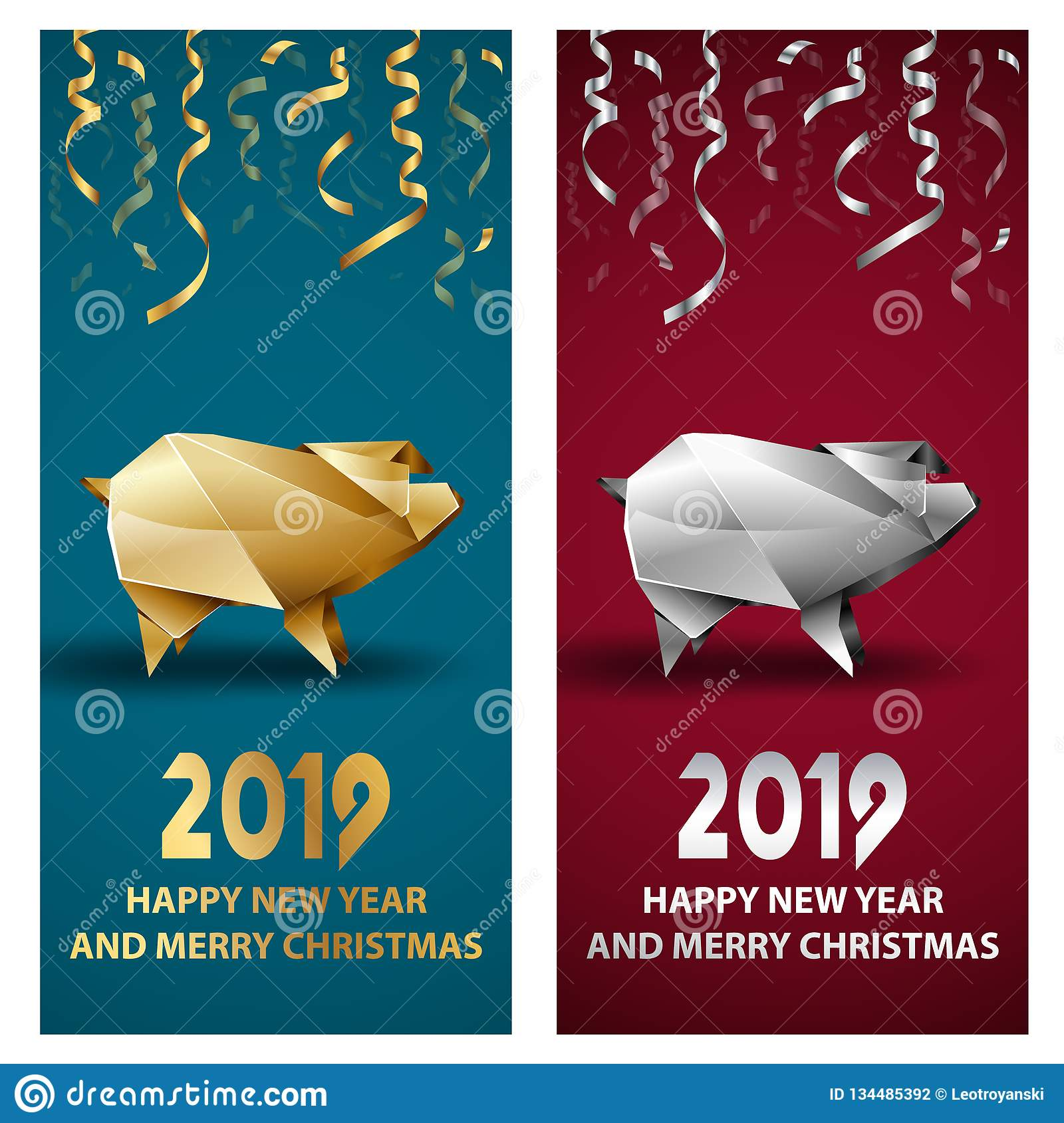Golden and Silver Pig as a Symbol of Chinese New Year 2019.