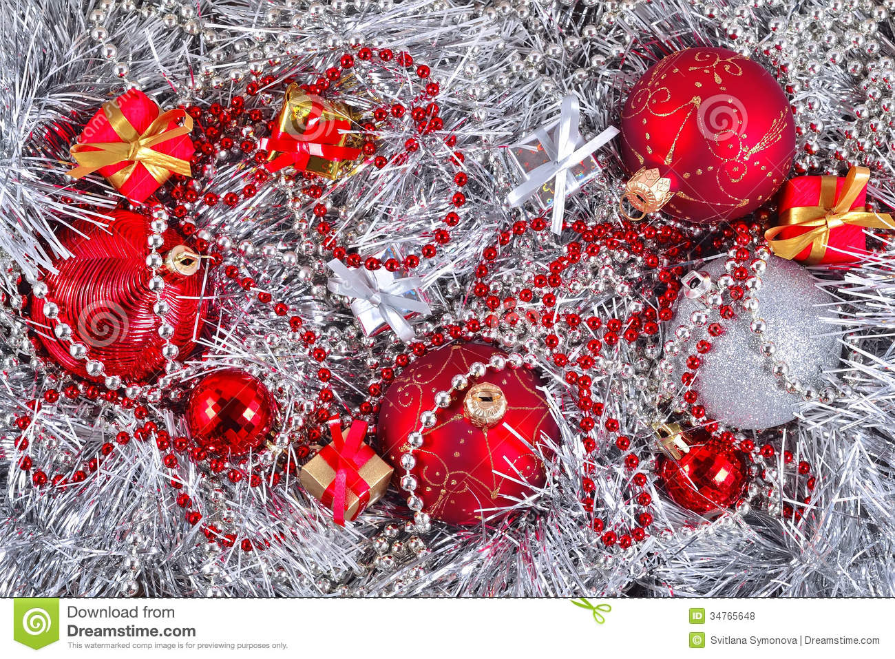 Golden silver and red christmas decorations royalty free for Red and silver christmas decorations