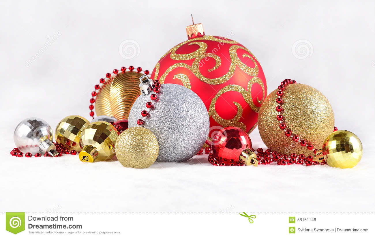 Silver and red christmas decorations - Golden Silver And Red Christmas Decorations On A White