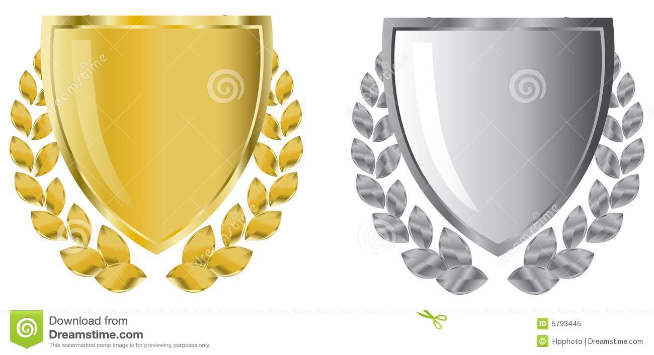 Golden and silver shields