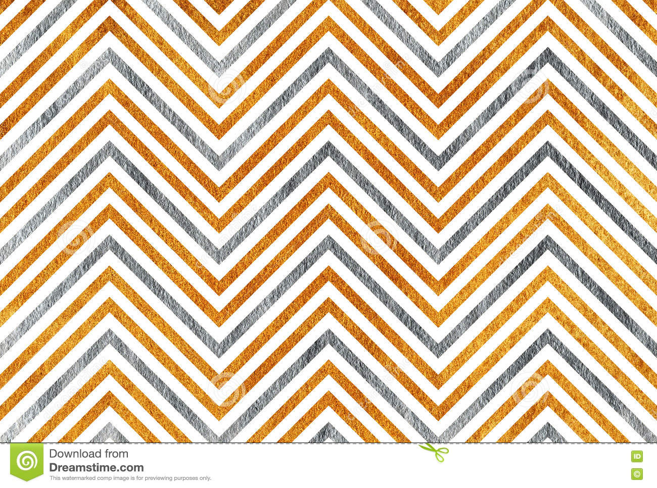 Golden And Silver Stripes Background, Chevron. Stock