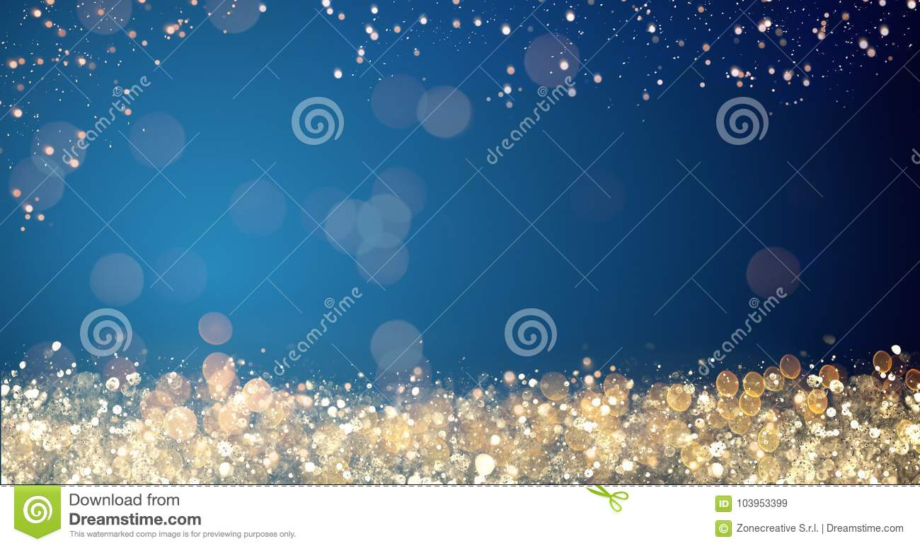 Golden And Silver Xmas Lights On Blue Background For Merry Christmas