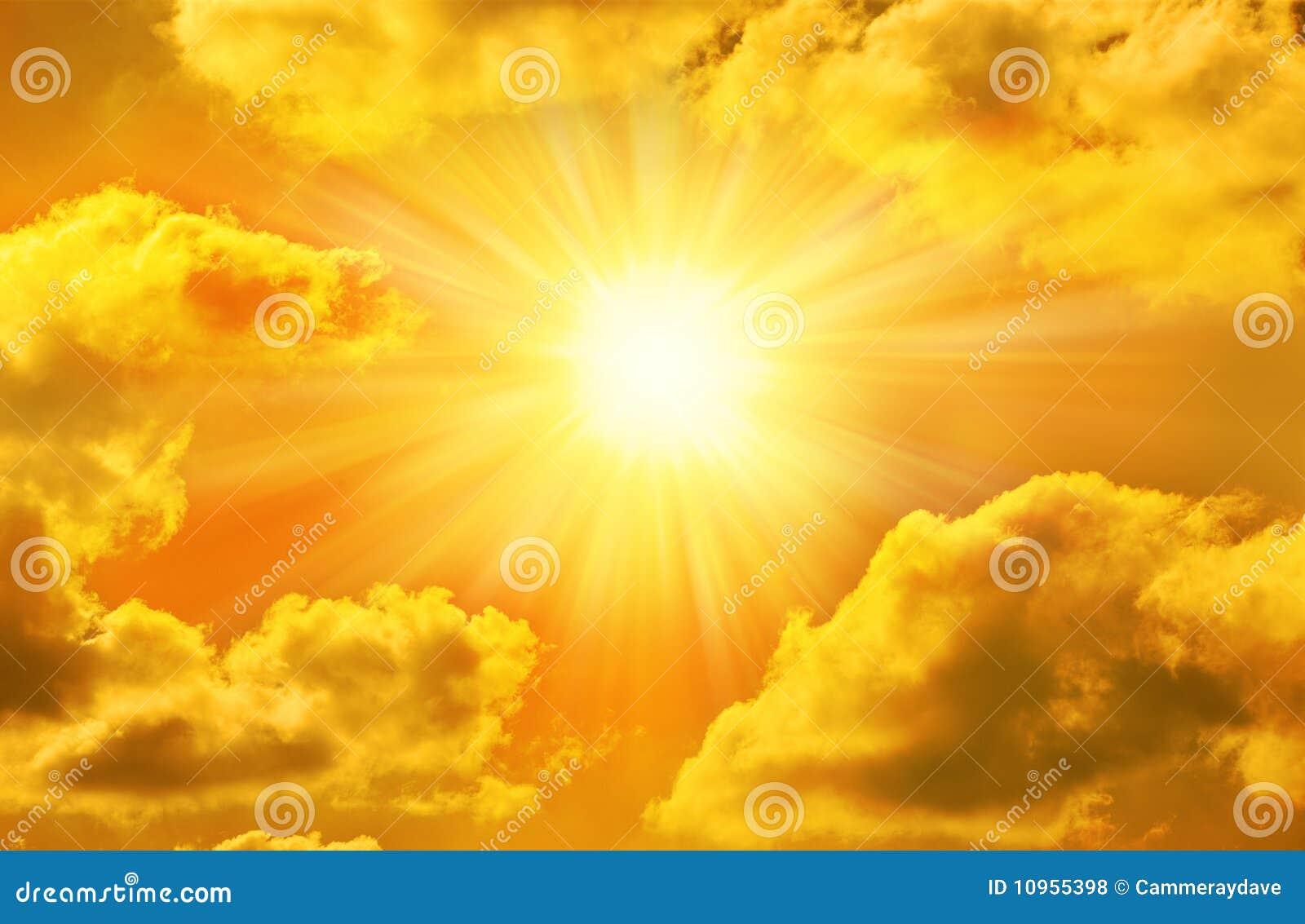 Golden Gold Sky Sun Sunny Clouds