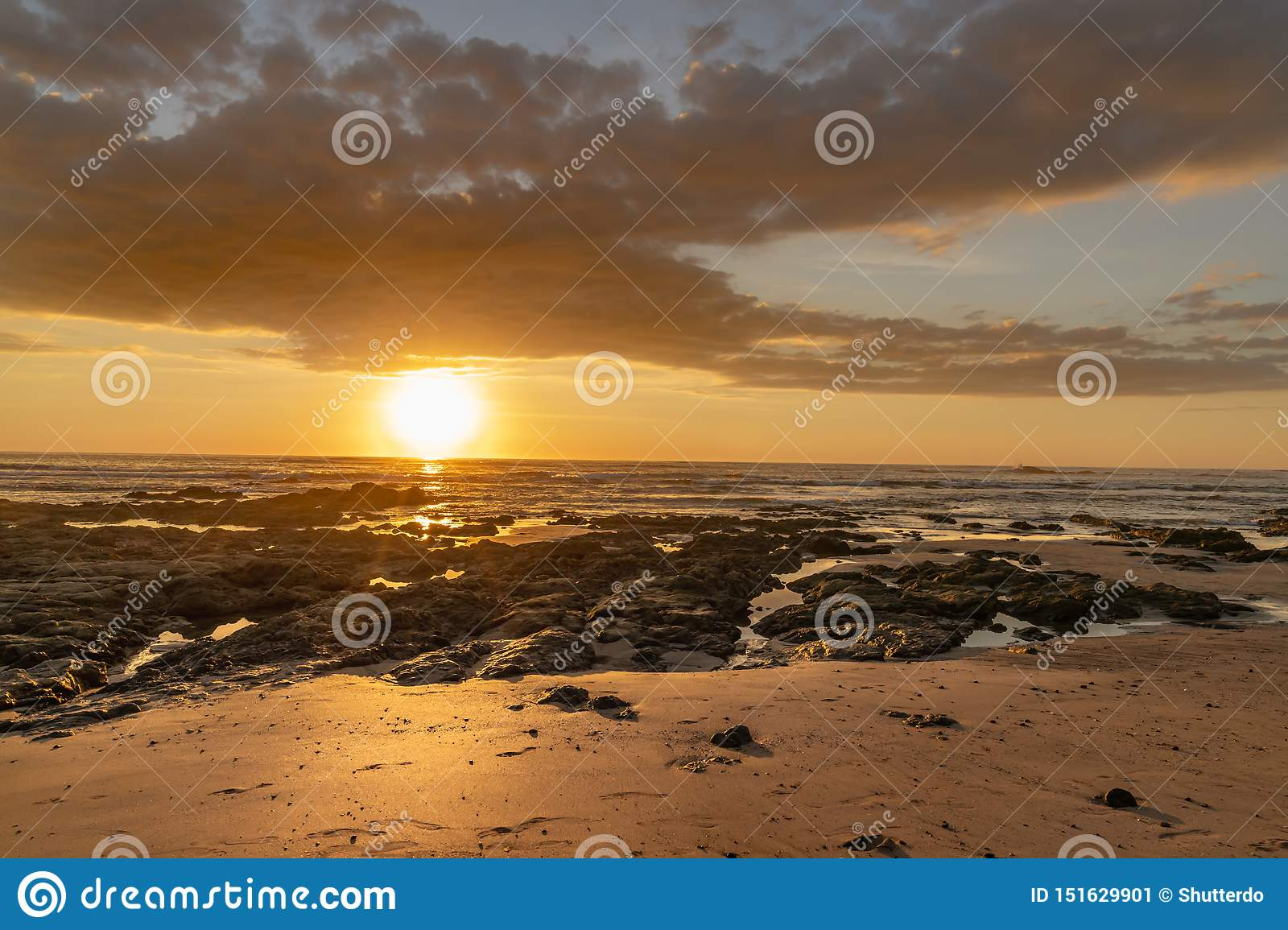 Golden sky and sunset over the ocean