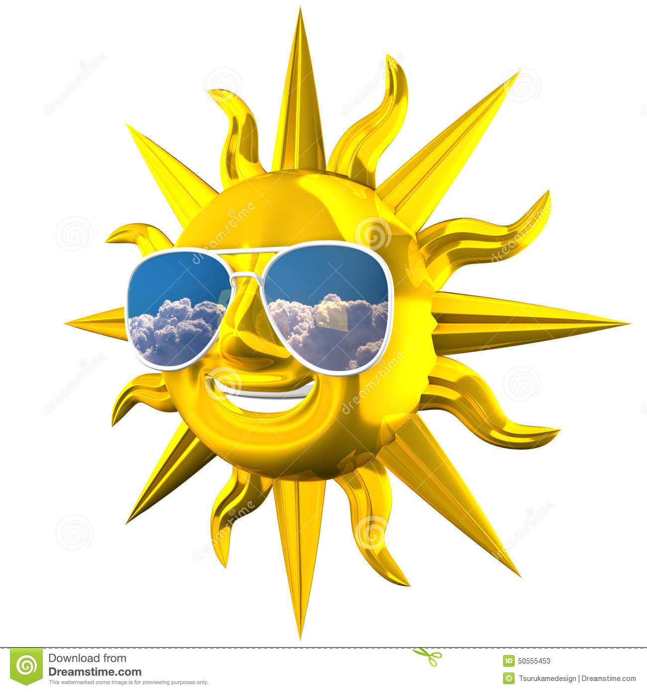 Smiling sun with sunglasses - Golden Smiling Sun With Sunglasses