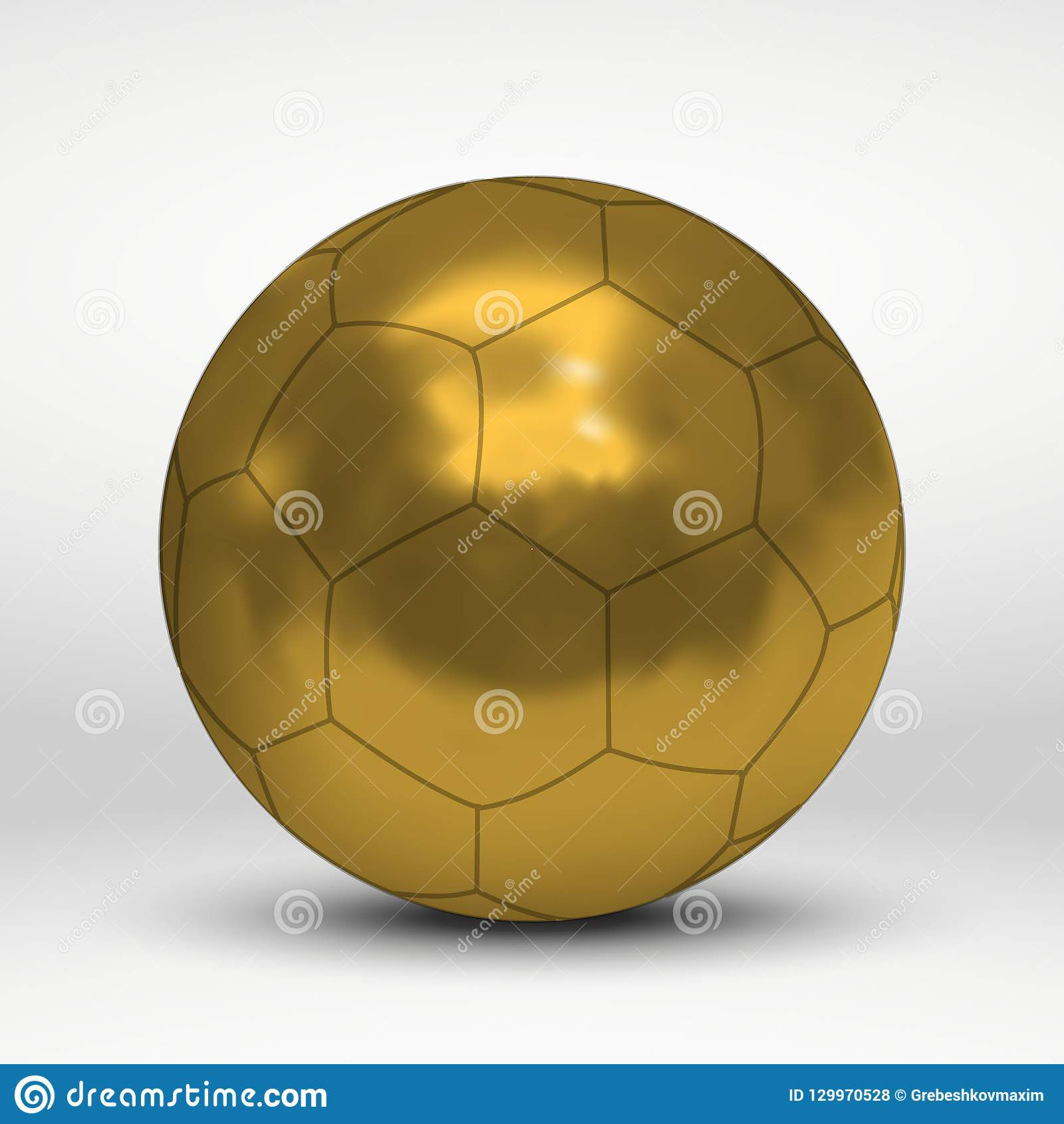 8cfd7f7ea Vector illustration with golden soccer ball over white background