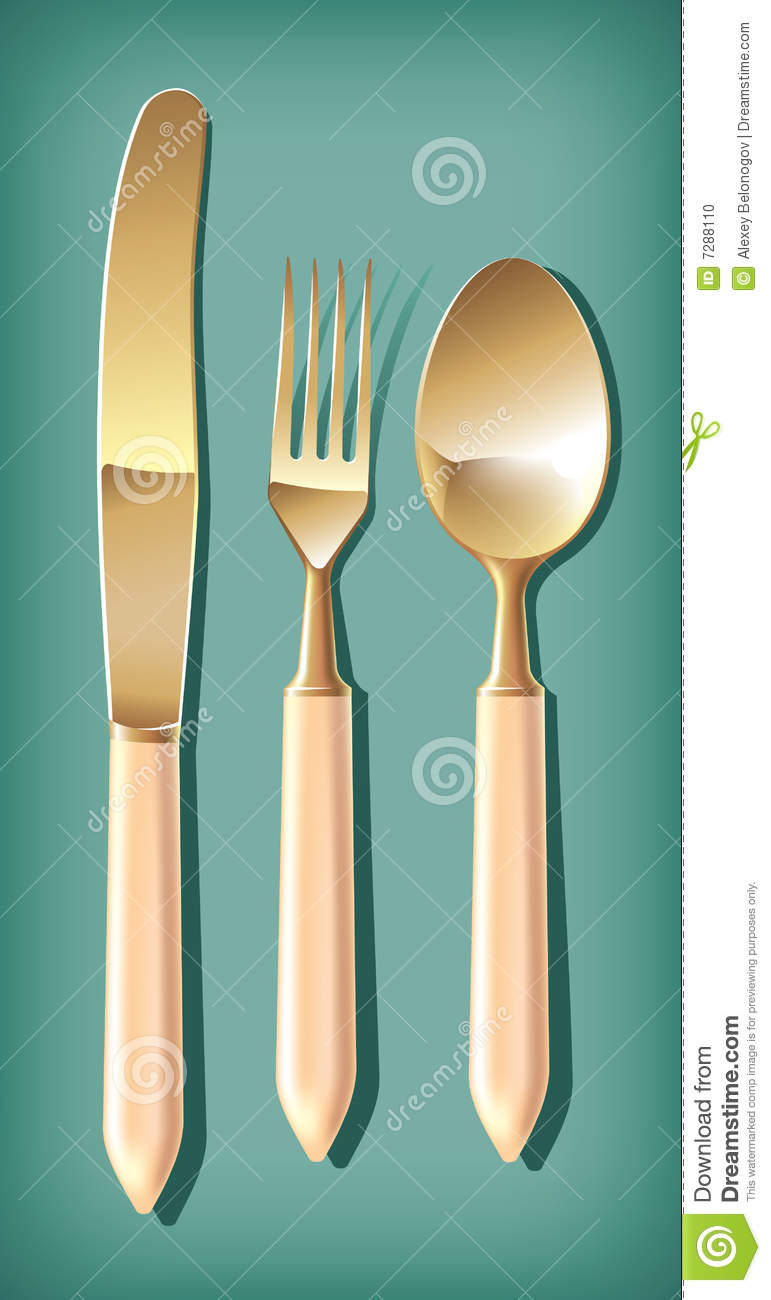 Golden spoon, fork and table knife