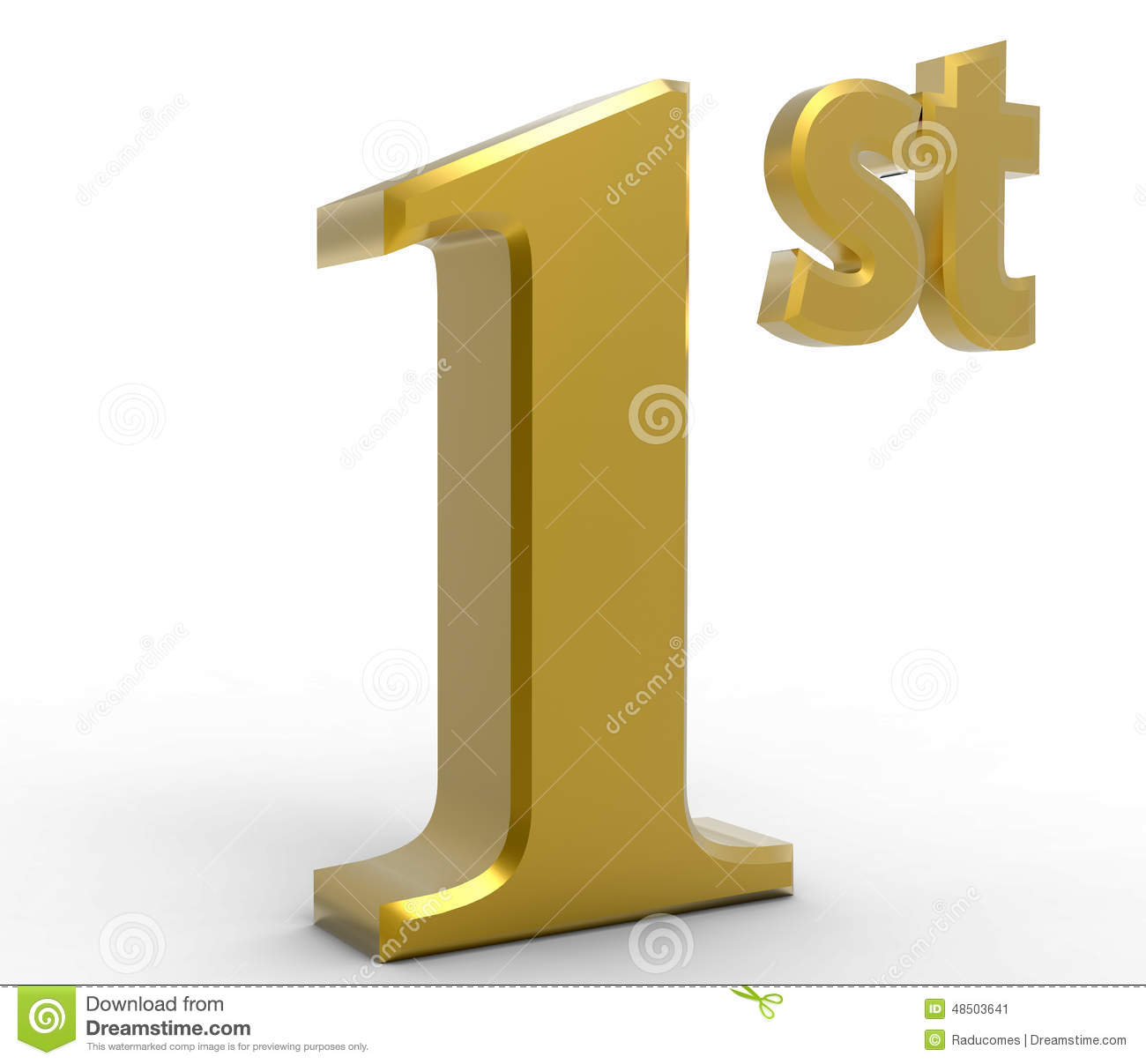 ... of the number 1 and the letters st. Concept representing first place