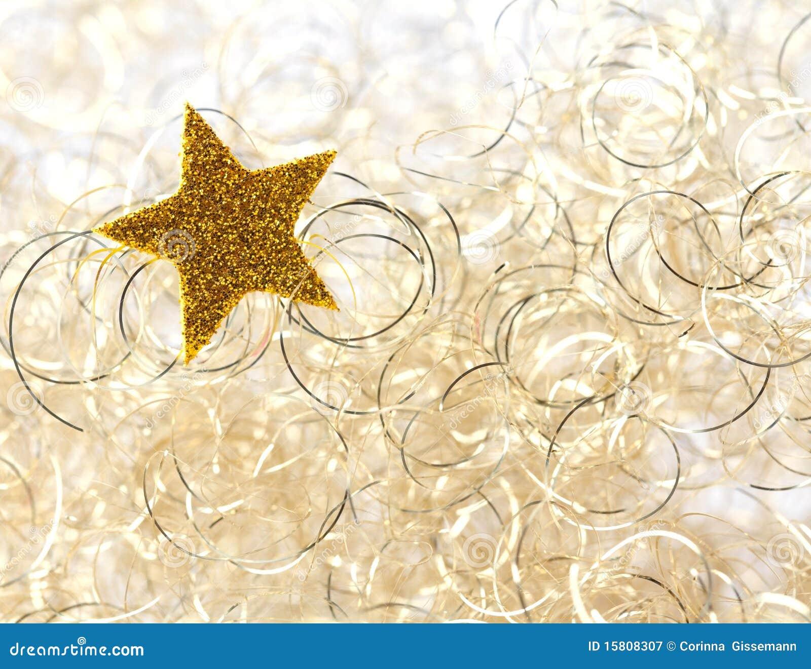 Golden star on christmas