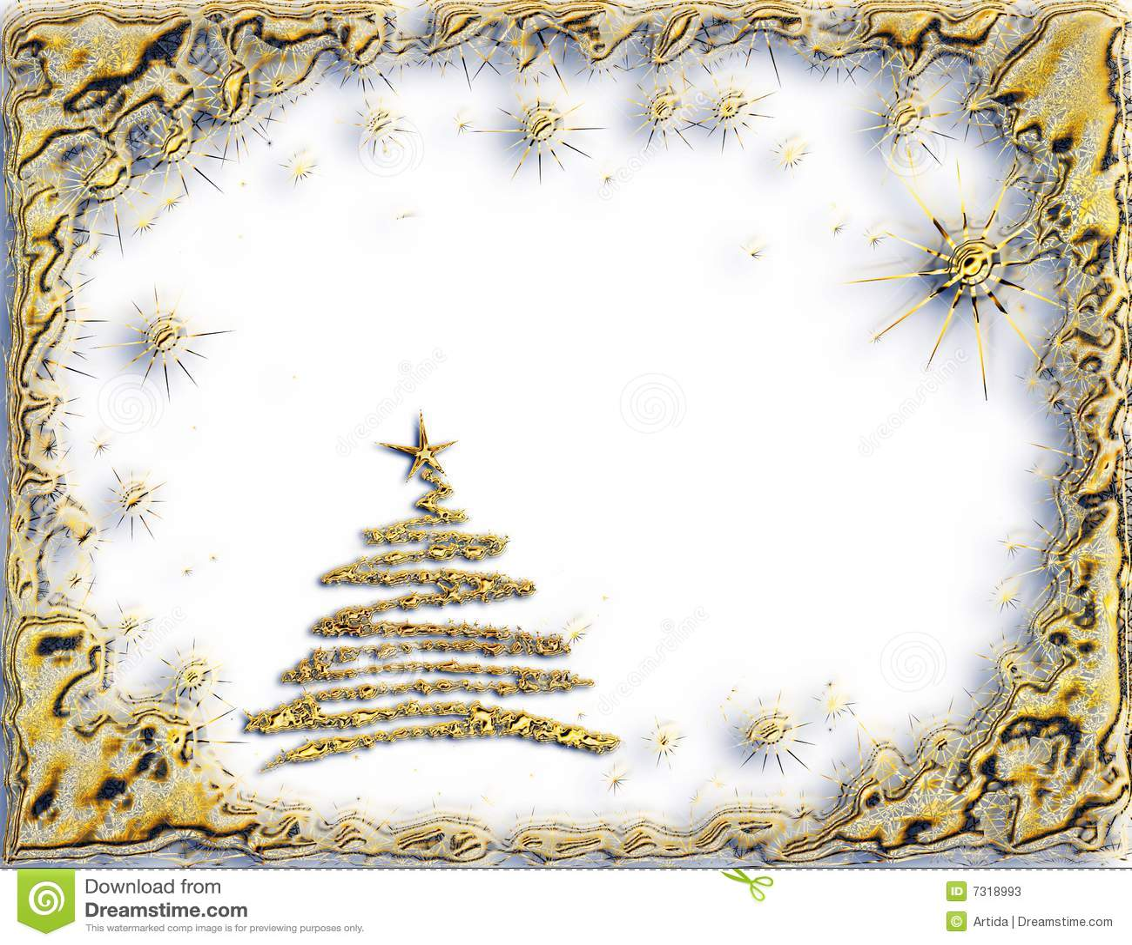 Big W White Christmas Tree: Golden Starry Christmas Tree On White Background Stock