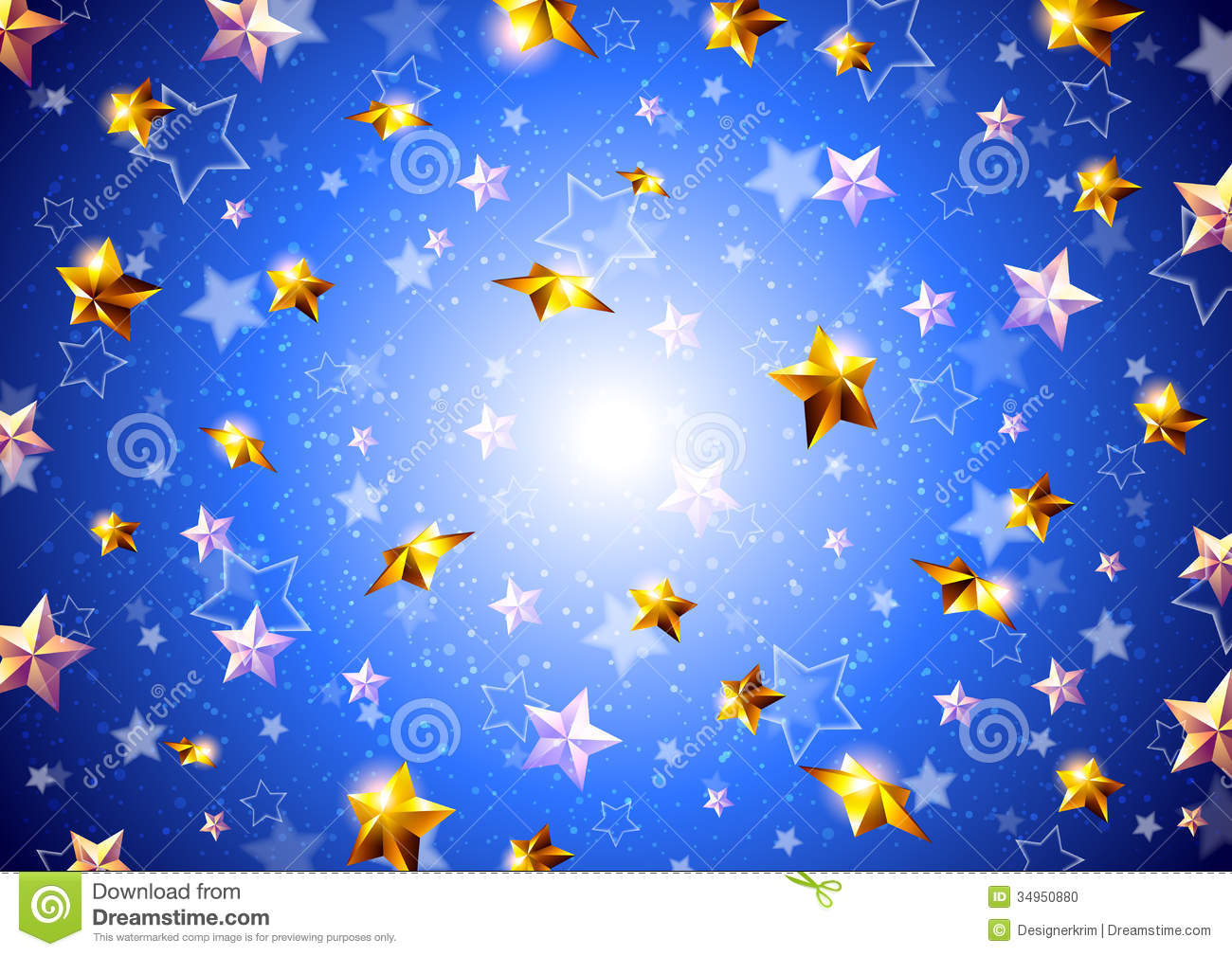 Golden stars on a blue background stock photo image 34950880