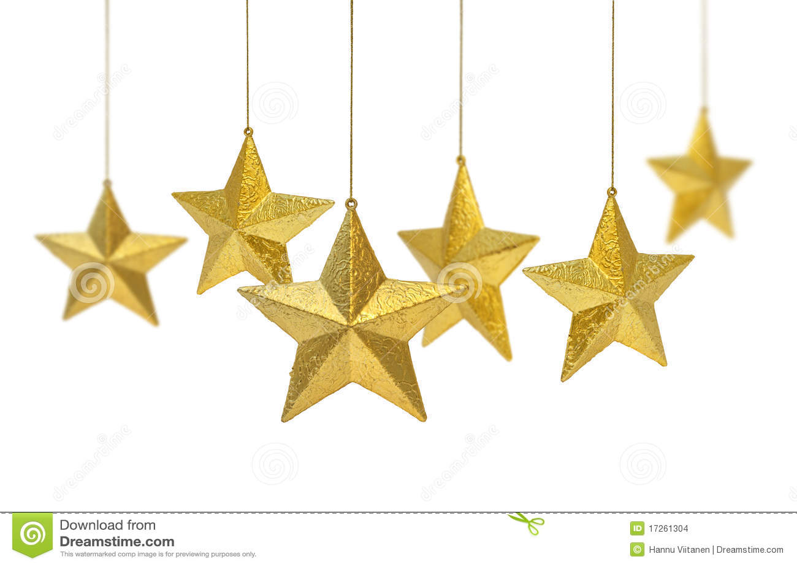 Golden Christmas decoration stars hanging isolated on white background ...