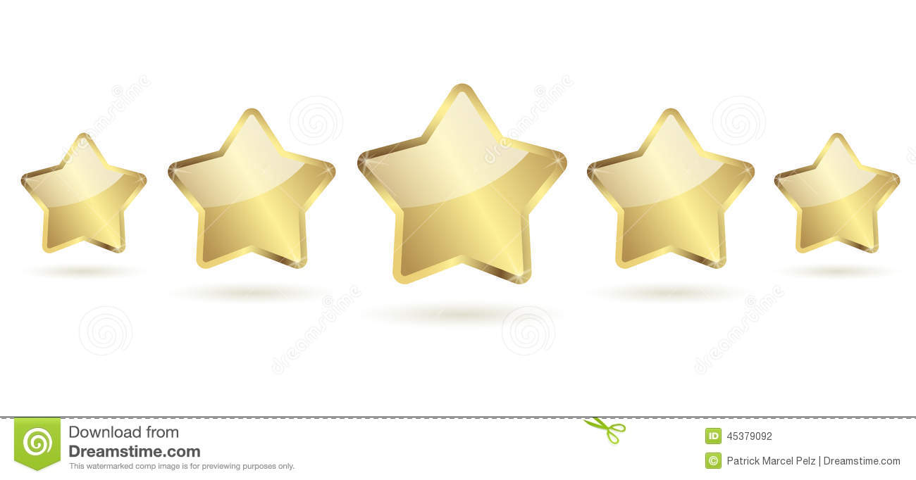5 Golden Stars With Shadow In A Row Stock Vector - Image ...